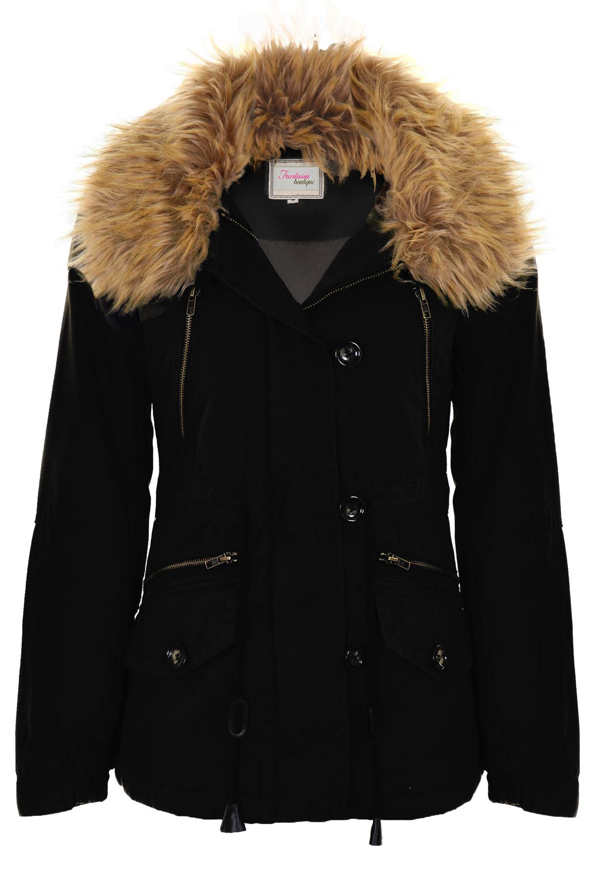 Ladies Faux Fur Trim Lined Warm Winter Women's Short Parka ...
