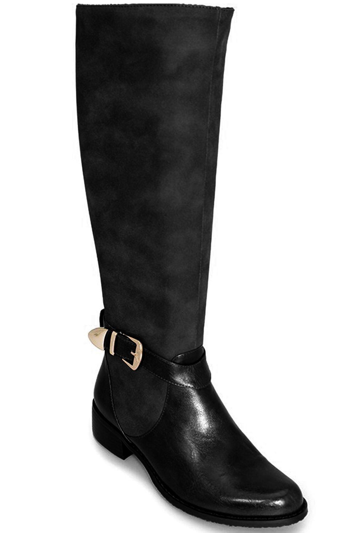 GLC494 Jocelyn Damenschuhe Long Contrast Knee High Riding Style PU Leder Stiefel