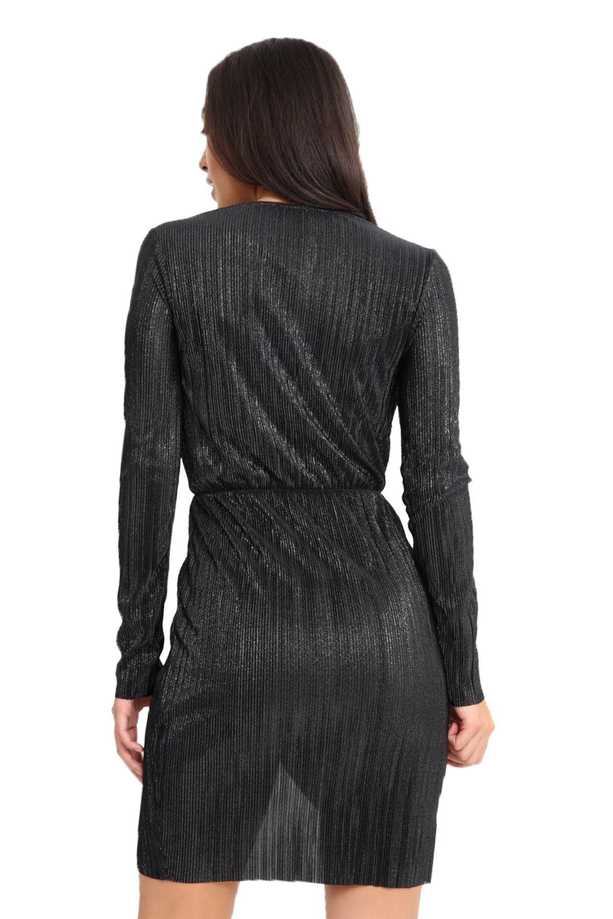 Womens Metallic Crimp Long Sleeve Plunge Wrap V Neck Mini