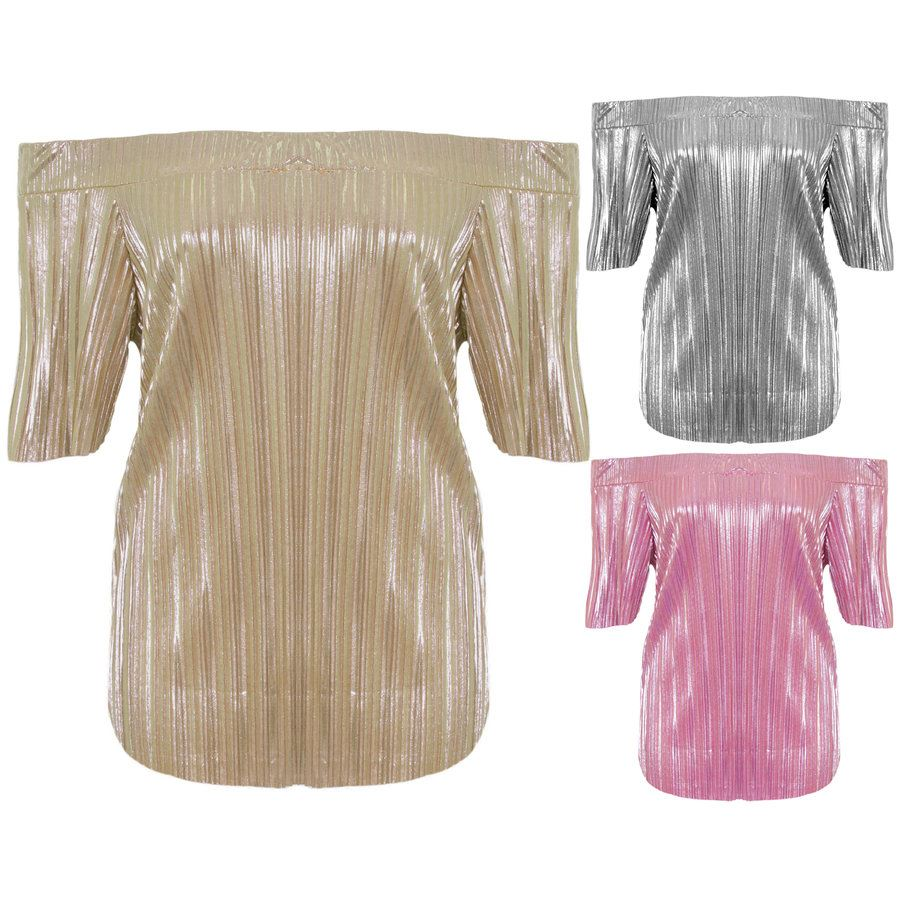 68fac8f1f22 Ladies Short Sleeve Bardot Off Shoulder Pleated Foil Metallic Stretch Party  Top