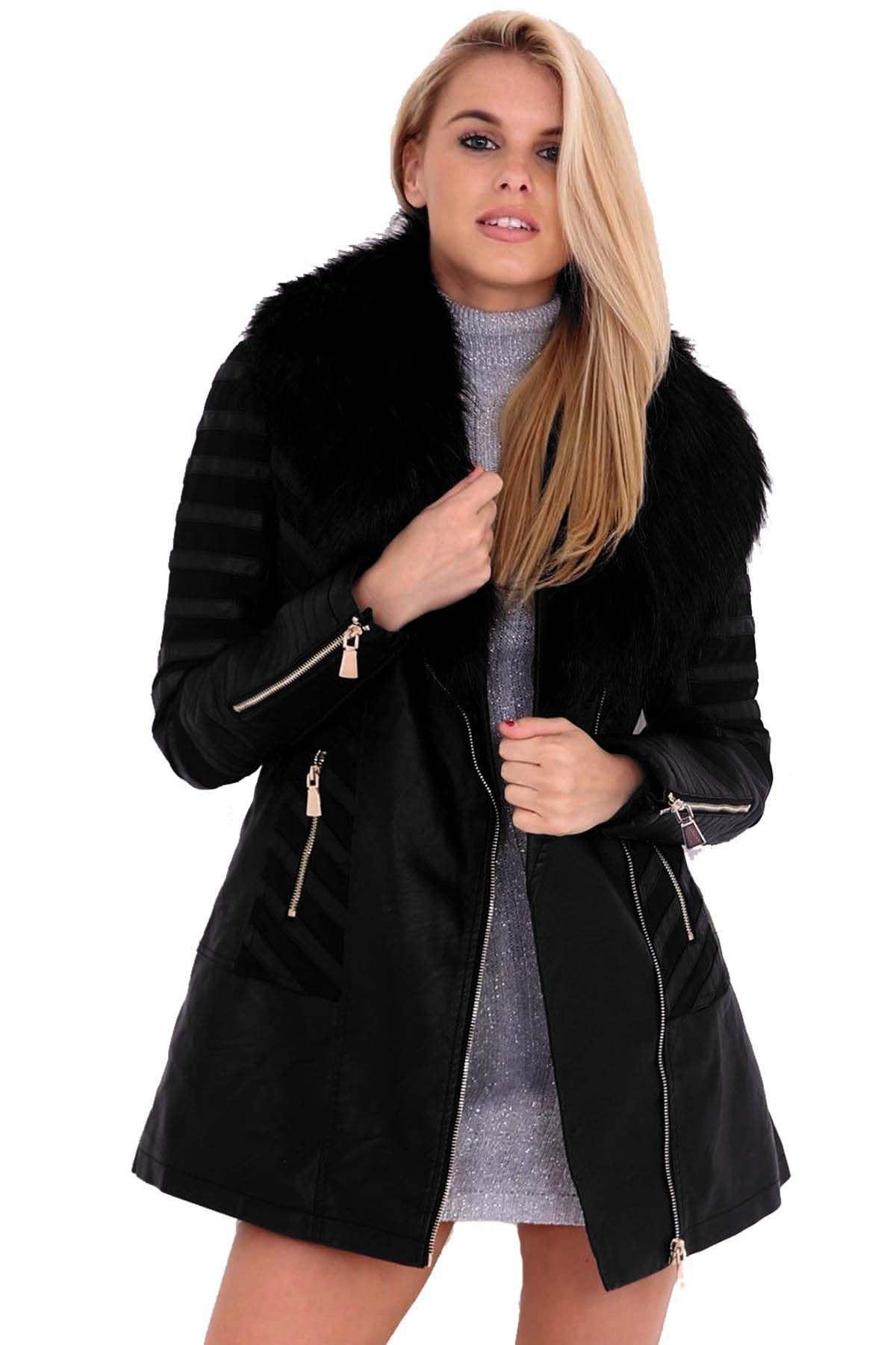 ladies faux pvc leather fur collar mesh insert long pu zipper coat jacket ebay. Black Bedroom Furniture Sets. Home Design Ideas