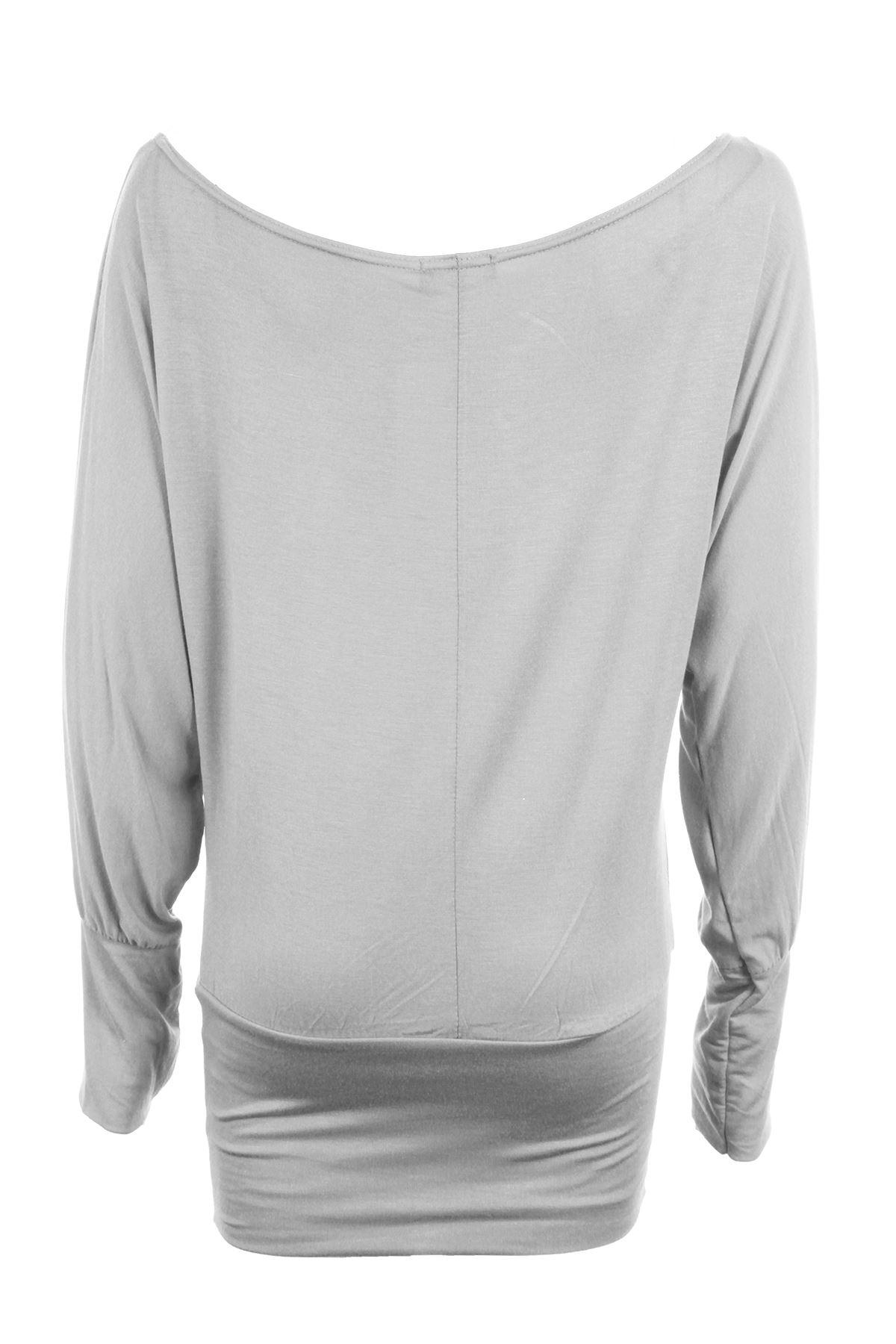 Women/'s Off Shoulder Long Sleeve Plain Ladies Batwing Baggy Top Sizes UK 8-22