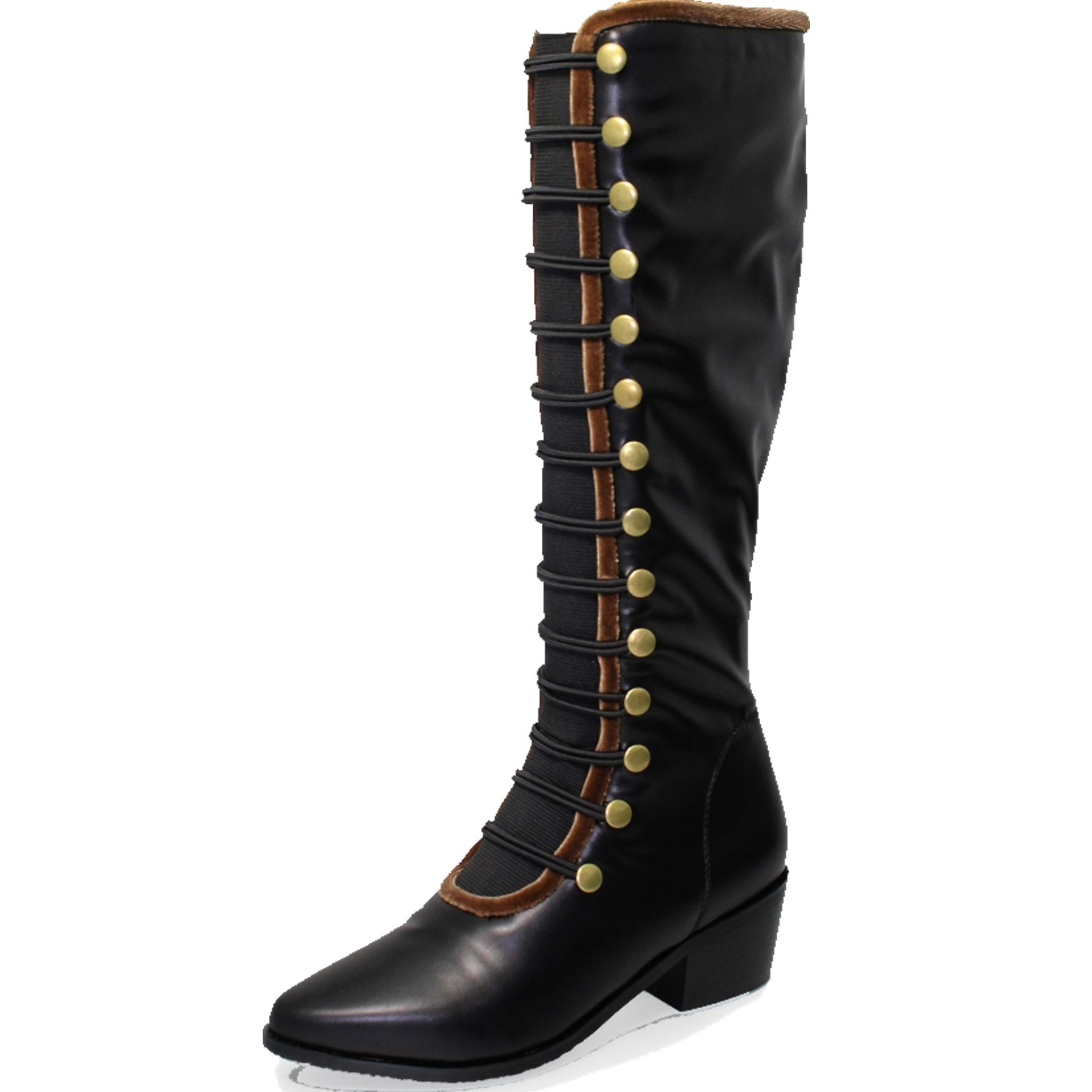 GLC687 Elba Faux Button Leder Velvet Side Zip Button Faux Elasticated Long Military Stiefel 4f149b
