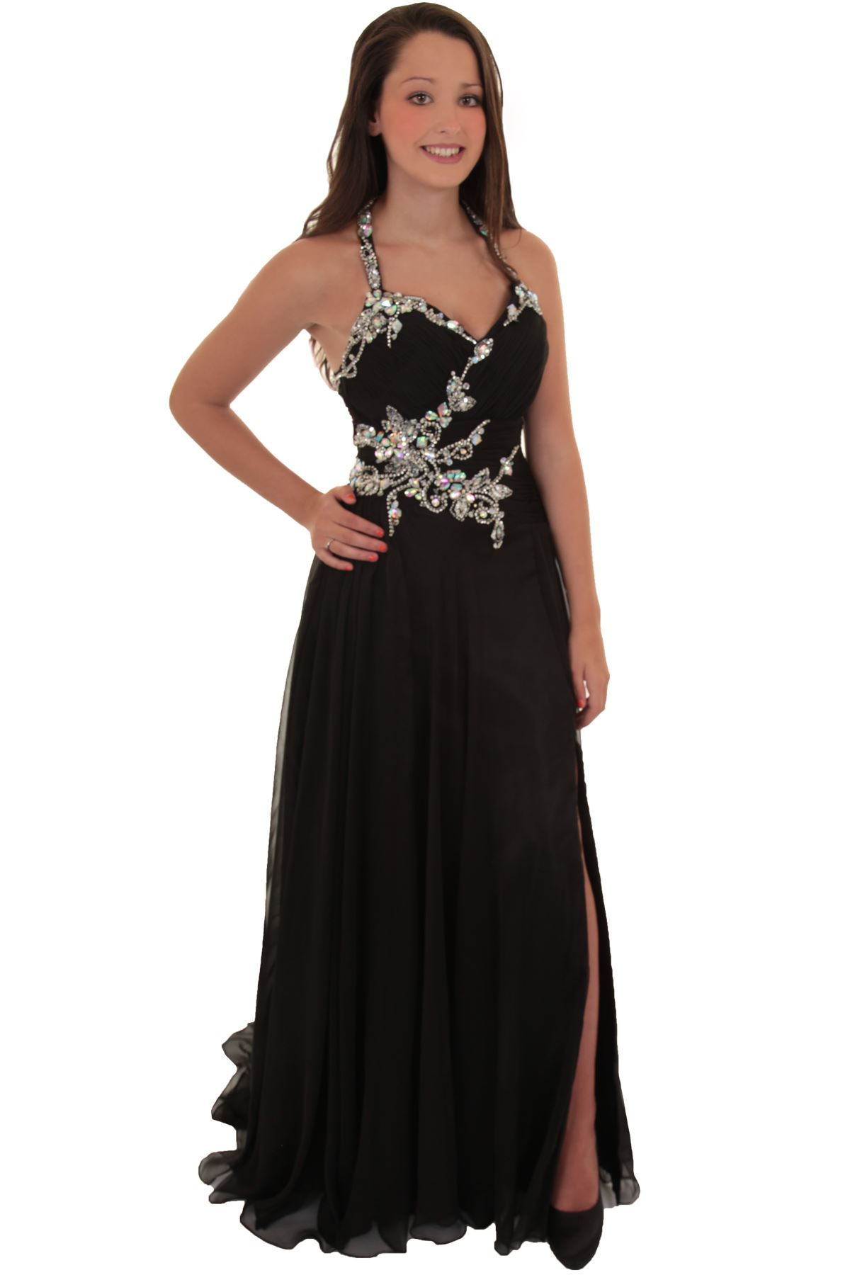 Ladies Floral Jewelled Halter Neck High Low Chiffon Formal