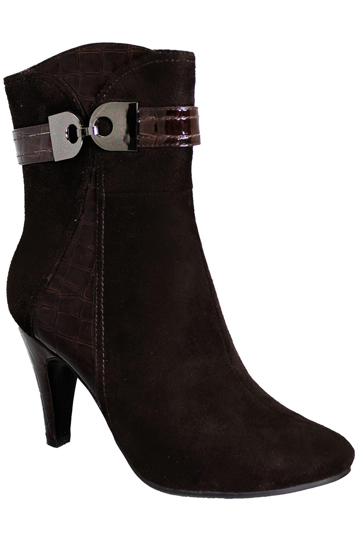 Onorevoli brevetto contrasto Warm in Pelle Scamosciata Buckle Accent alla Donna alla Accent Caviglia Tacco a4ca89