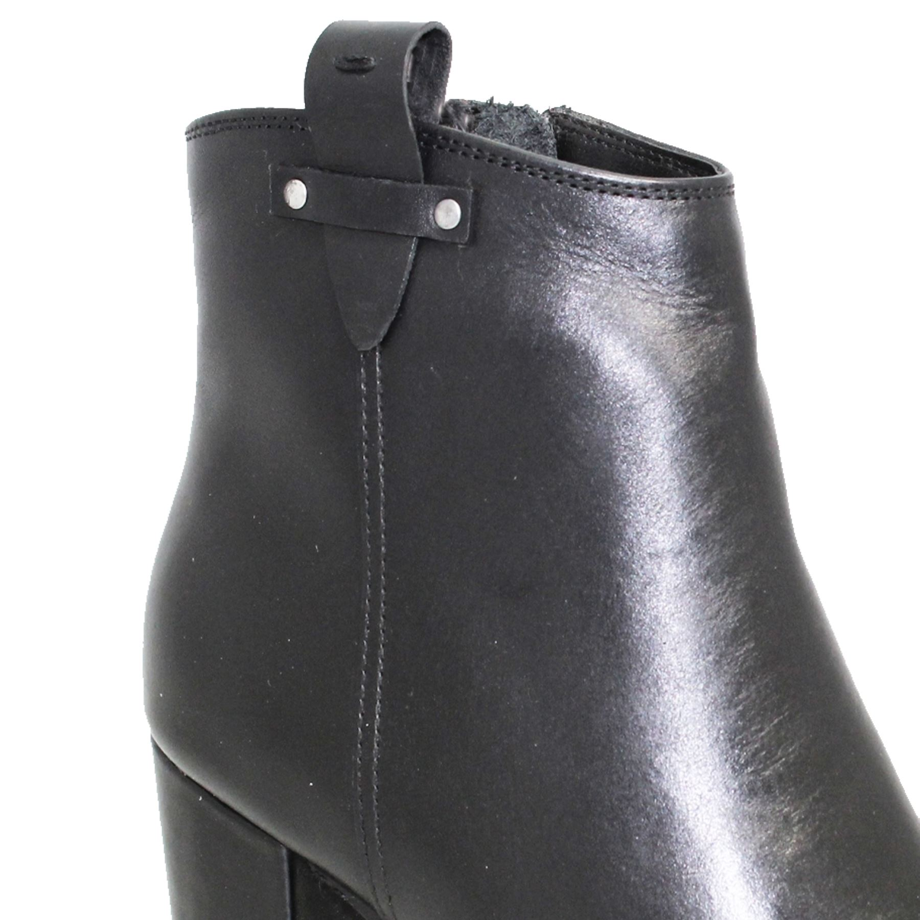 GLH523 Cindy Side Zip Real Leder Studded Padded Insole Insole Insole Block Heel Stiefel 055eae