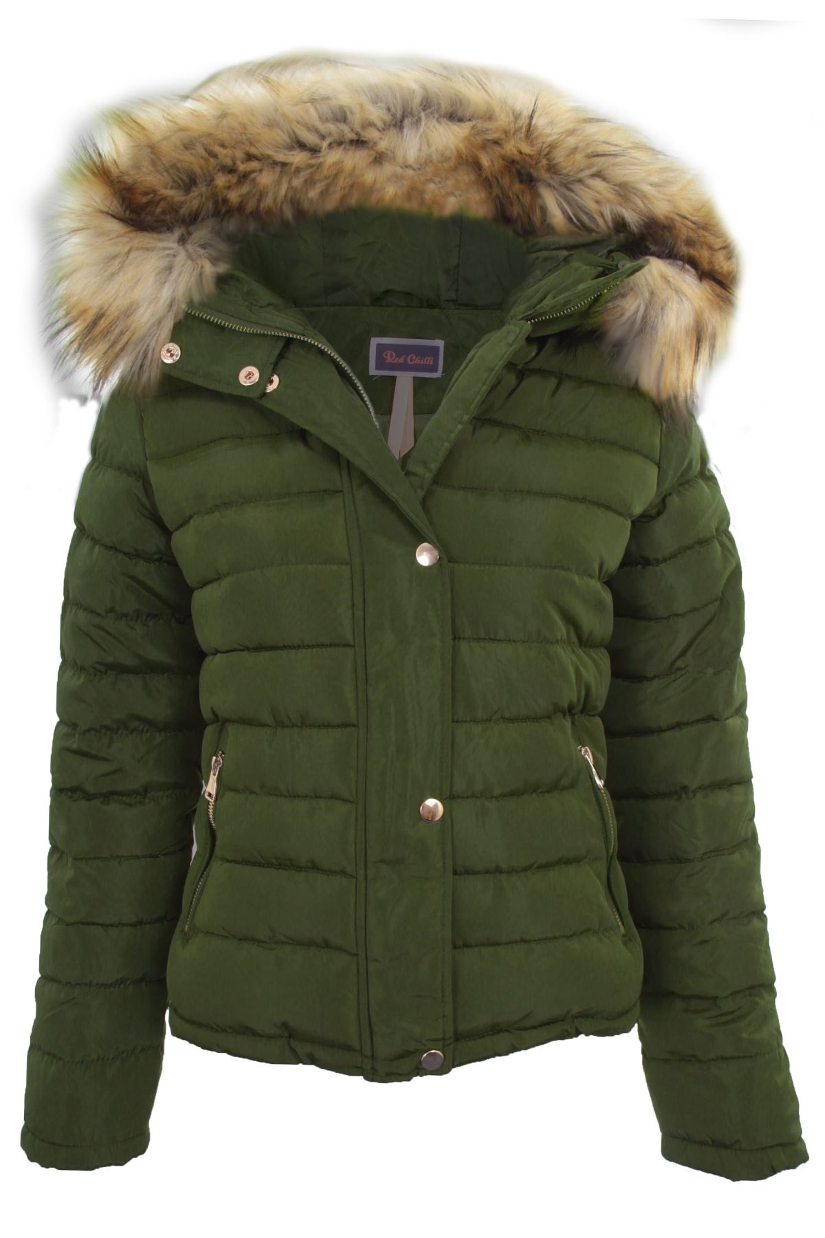 Womens Padded Detachable Fur Lined Hood Popper Zipper Puffer Jacket