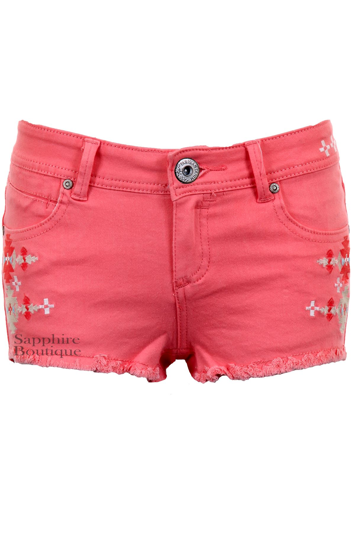 Women-039-s-Pastel-Coloured-Aztec-Denim-Summer-Fitted-Hot-Pants-Shorts-Jeans-6-14