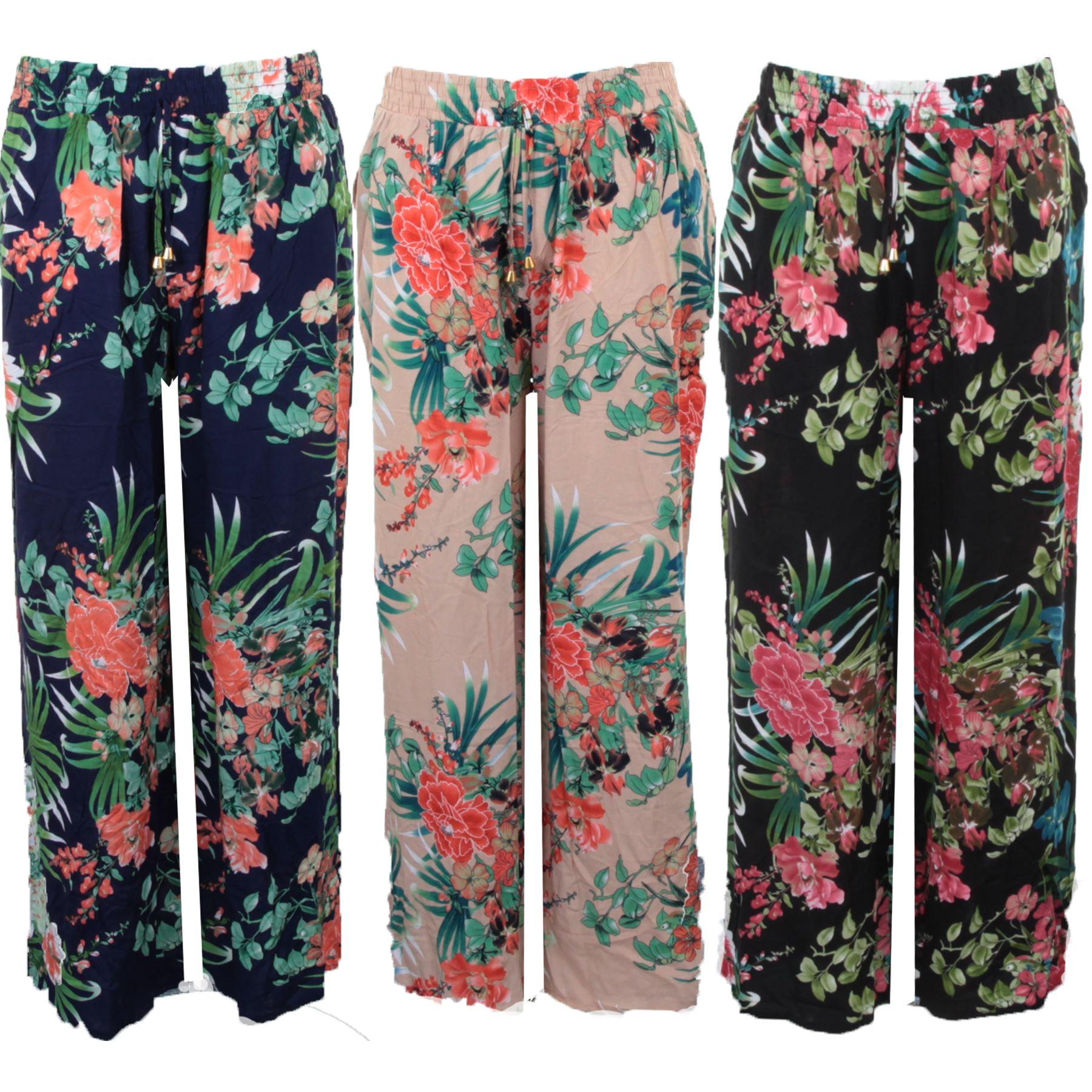 Details about Womens Plus Size Flare Wide Leg Elastic Waist Floral Print  Loose Pants Trousers
