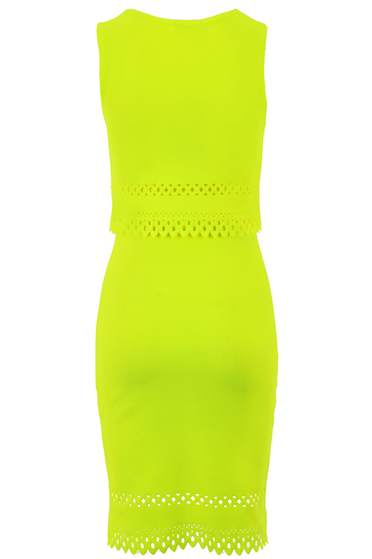 Womens Cut Out Scallop Hem Crepe Overlay Neon Knee Length Bodycon Dress  0b6ae91222