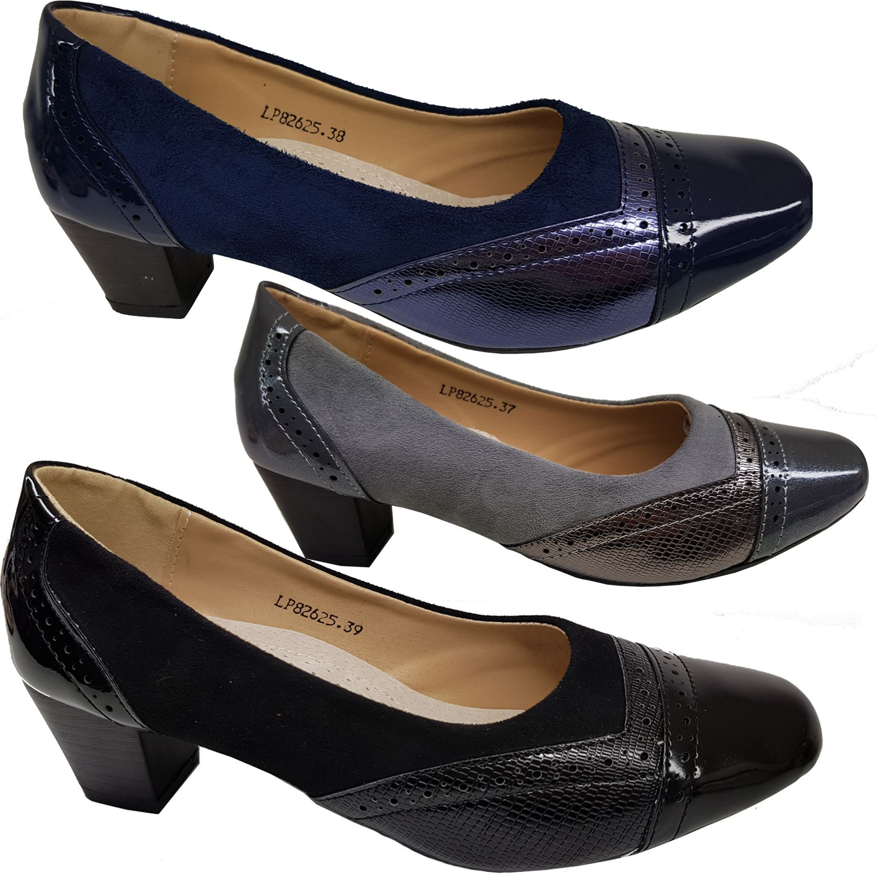 Black Blue Faux Suede Shoes High Heel Size 3 4 party office work
