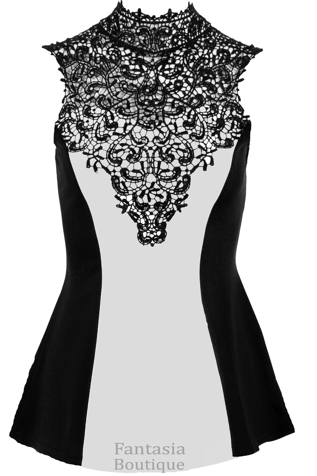Ladies Sleeveless Floral Crochet Studded High Neck Contrast Flared Peplum Top