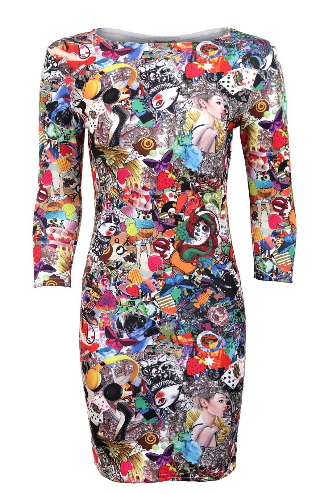 women s 3 quarter sleeves party funky crazy print ladies bodycon