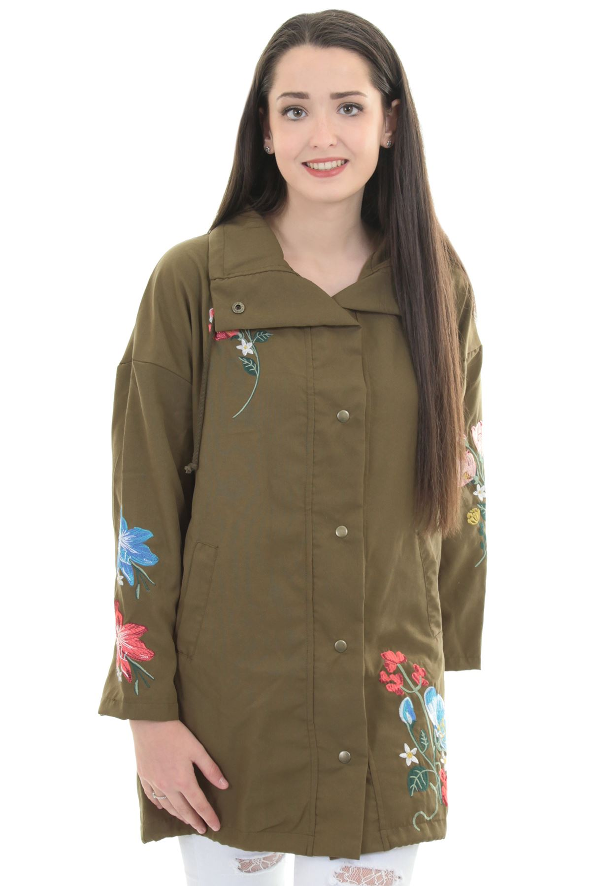 Ladies long sleeve canvas floral embroidered parka