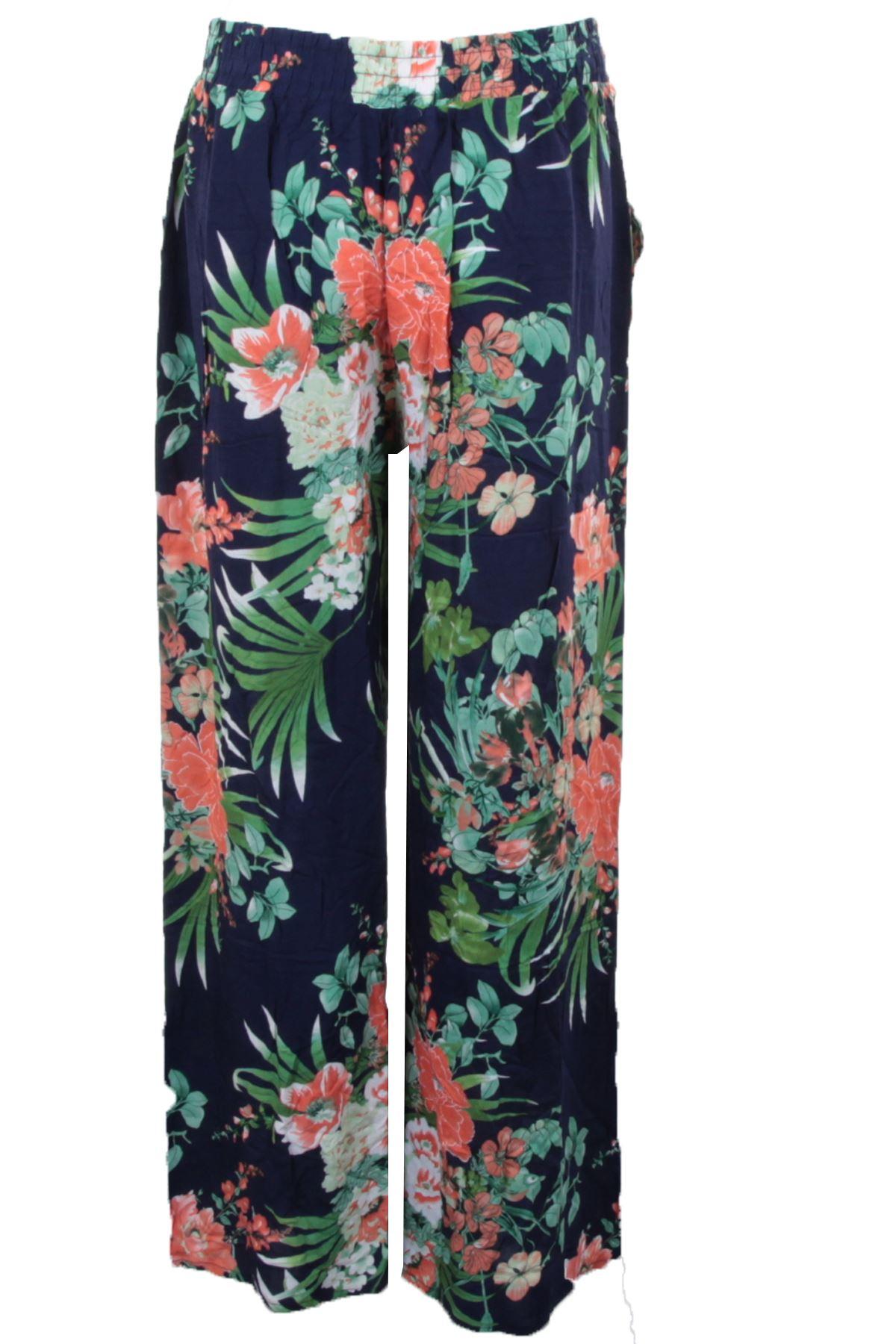 Femmes imprimé floral Palazzo pantalon femme été Jambe Large Pantalon Grande Taille 8-26