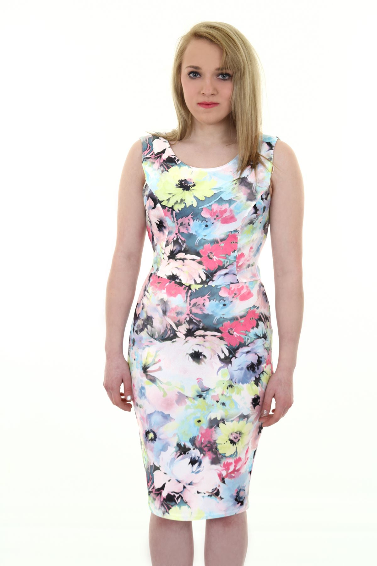 3fd8c7e33cba Ladies Sleeveless Pastel Floral Print Cut Out Bow Back Crepe Bodycon Dress