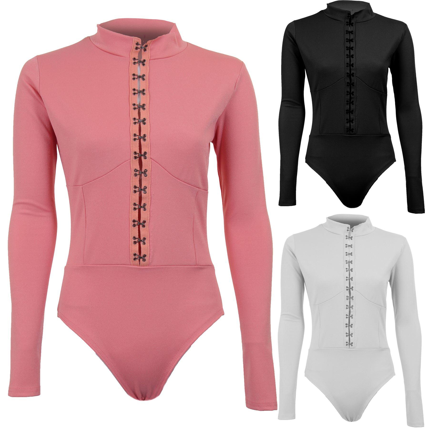 NEU Damen schlicht hoch Rollkragen Ausschnitt lang sleece Body Oberteil UK 8-14
