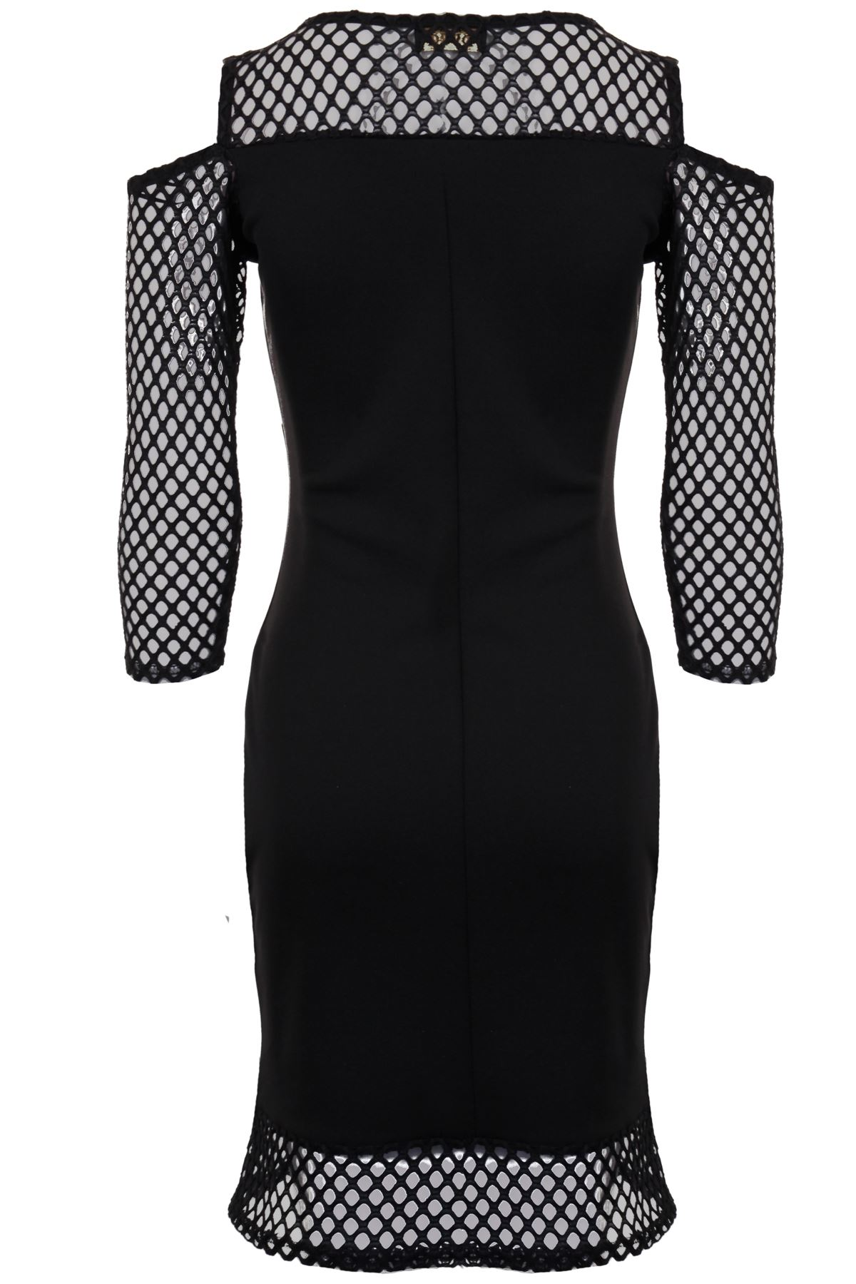 6825be8ae65 Details about Women's Cut Out Cold Shoulder Mesh Fishnet Long Sleeve V  Front Bodycon Dress