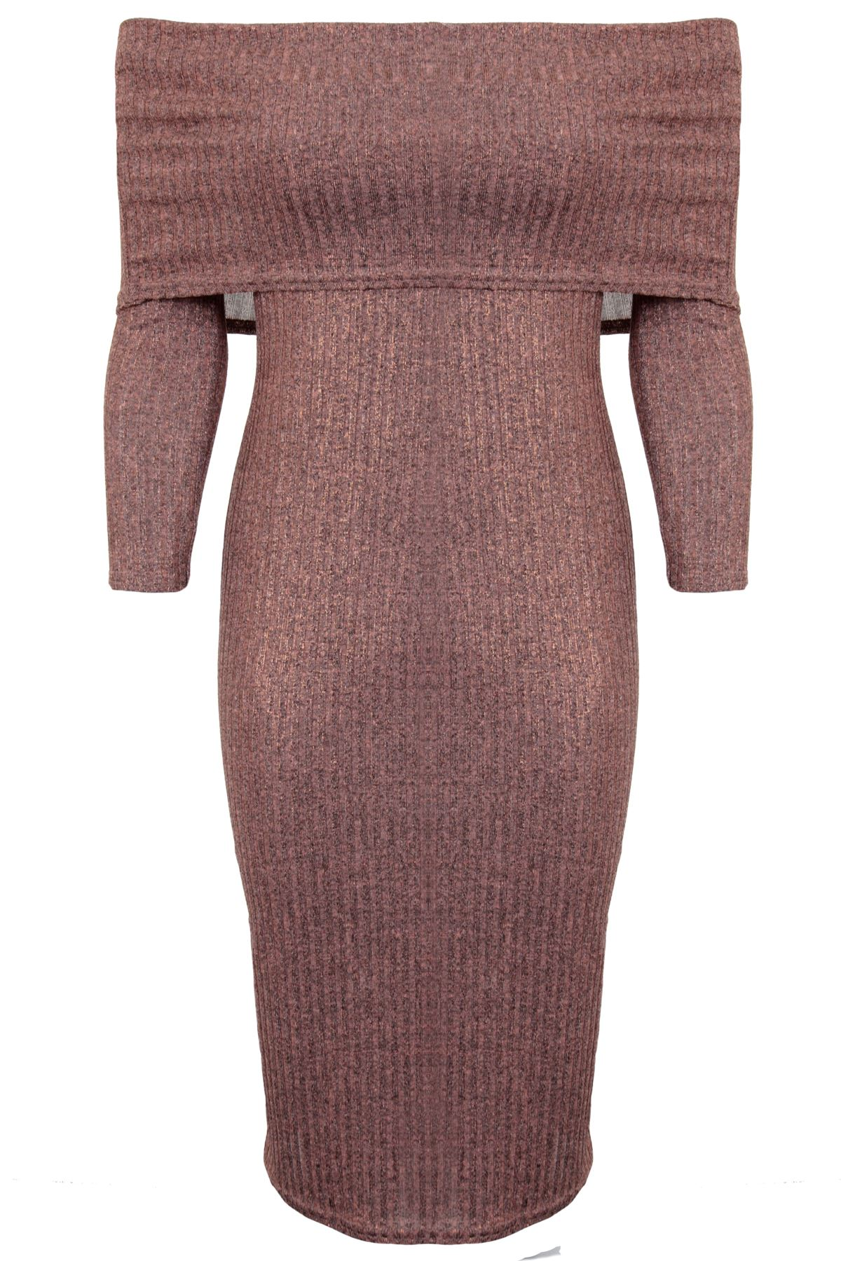 Opinion pink dress bodycon long knee length sleeve port douglas
