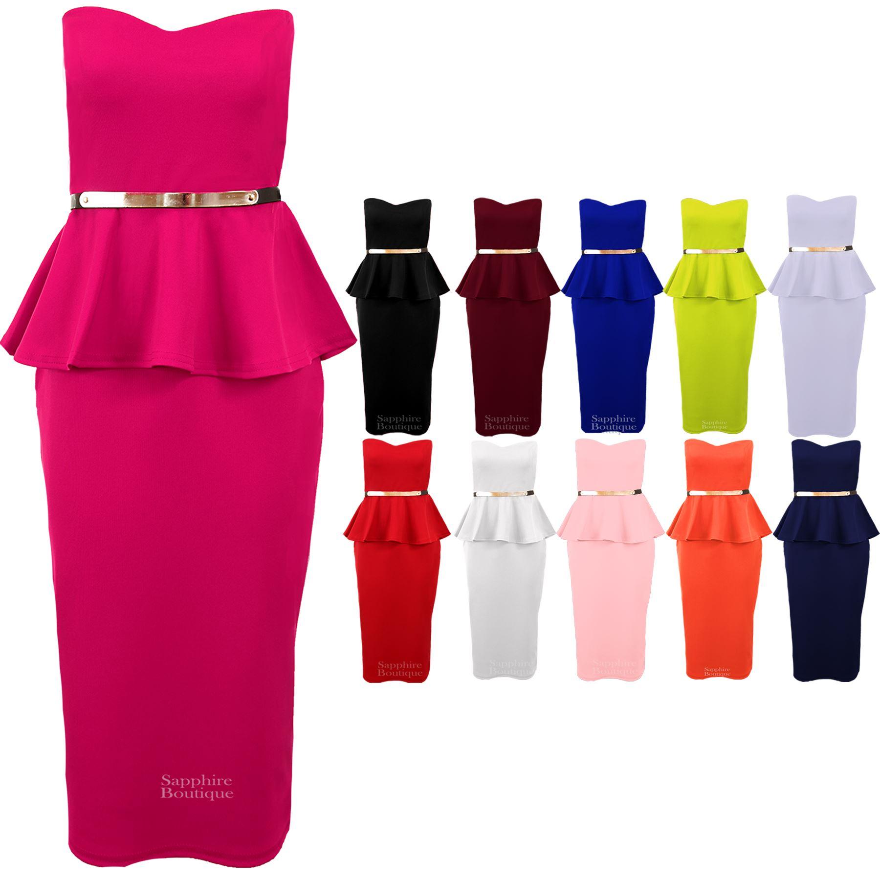 Women/'s Knee Length Pencil Frill Belted Peplum Skirt Ladies Bodycon Dress 8-14