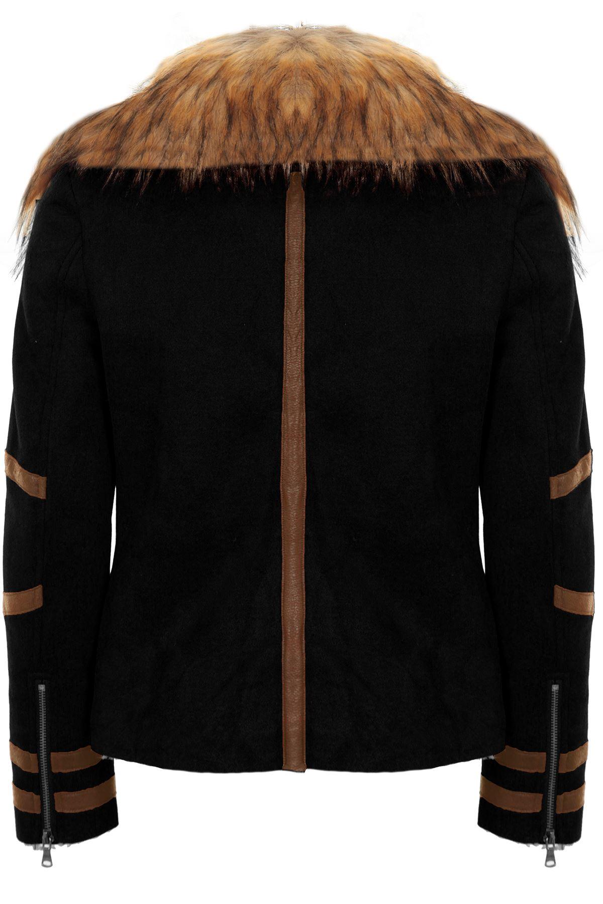 Womens Short Wool Inner Lined PVC Stripe Faux Fur Collar Biker Coat Jacket