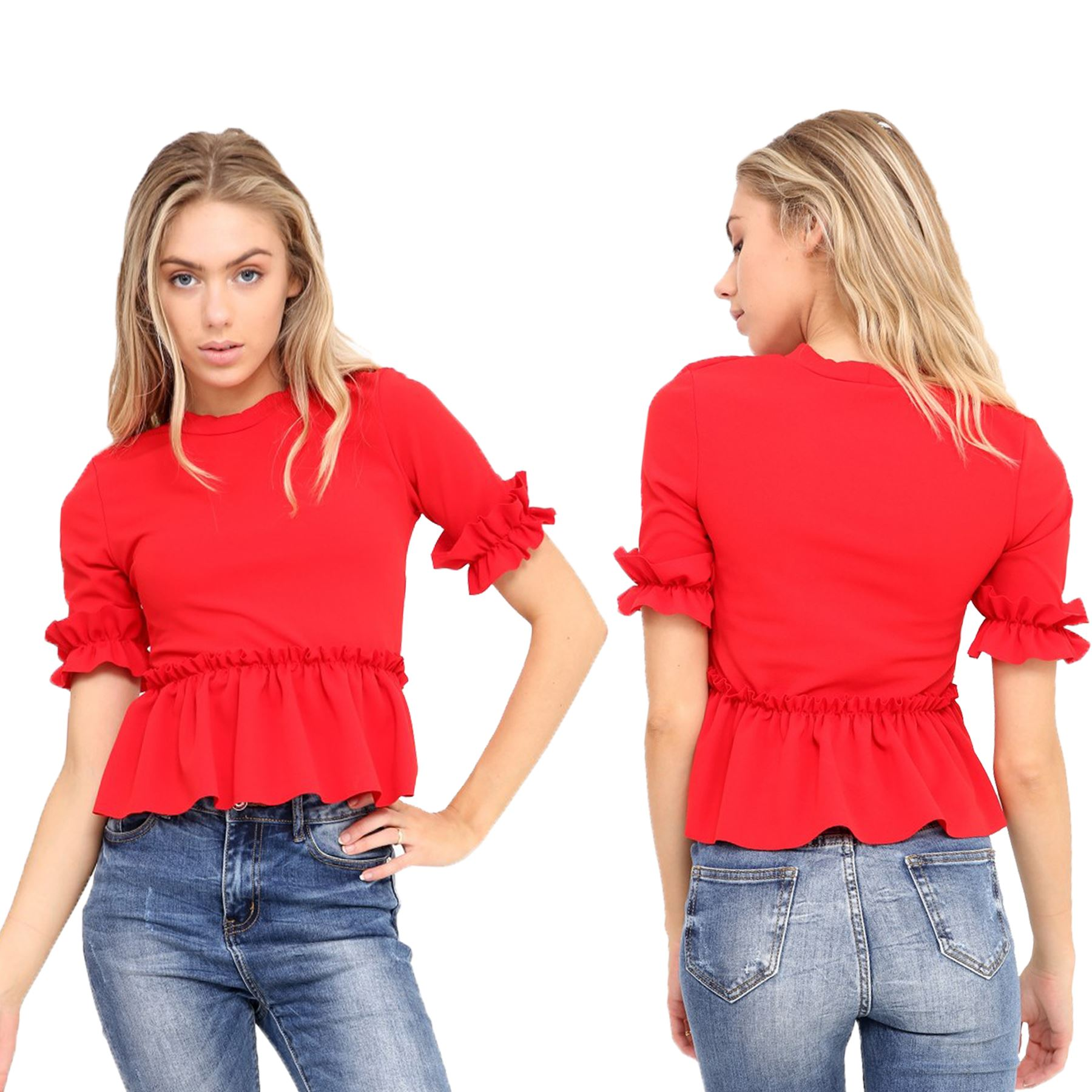 d6439673480341 Details about Ladies Ruffle Frill Peplum Flared Short Sleeve Crepe Plain  Party Smart Crop Top