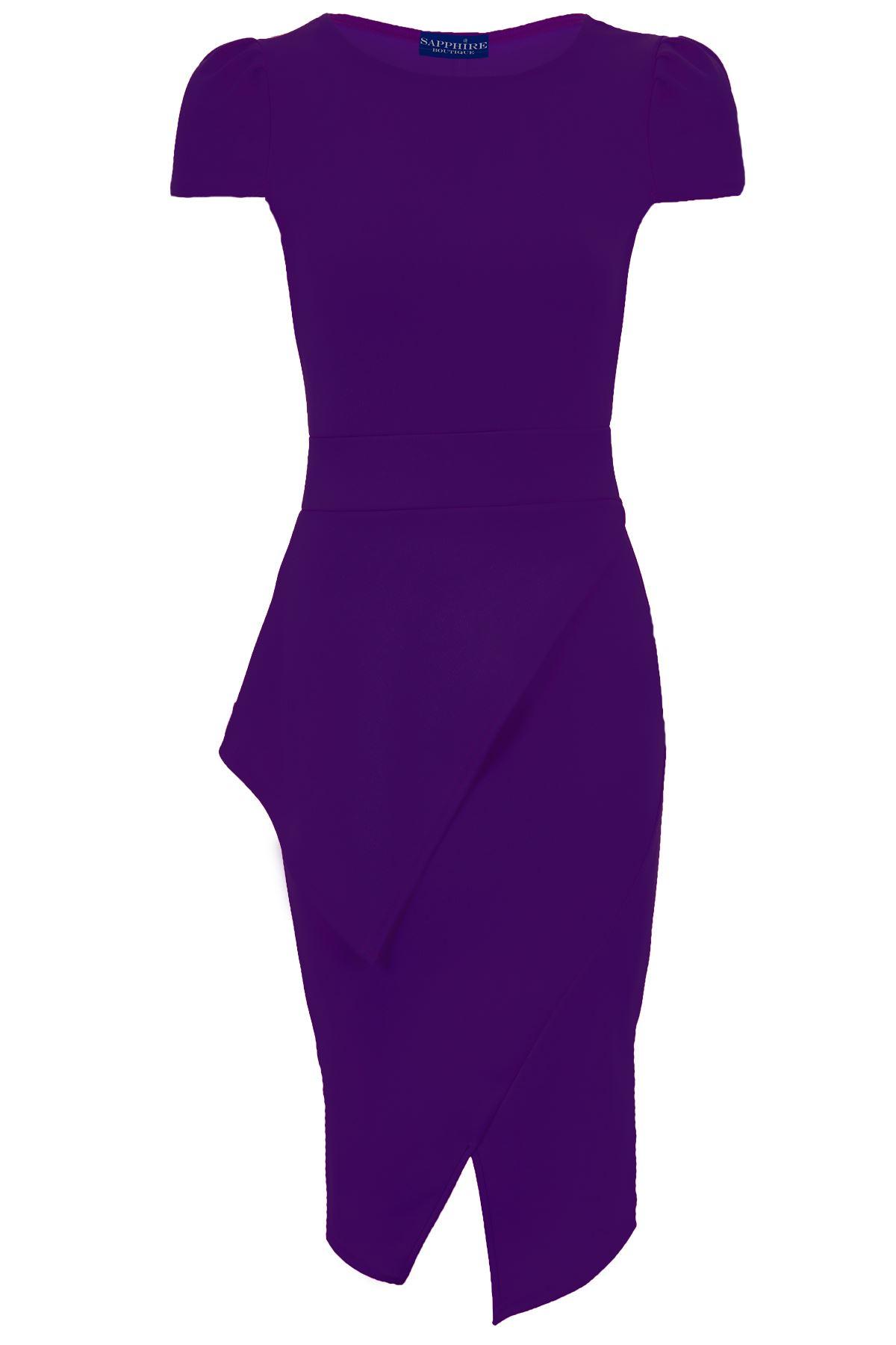 Ladies Asymmetric Neon Pencil Bodycon Knee Length Midi Women\'s Party ...