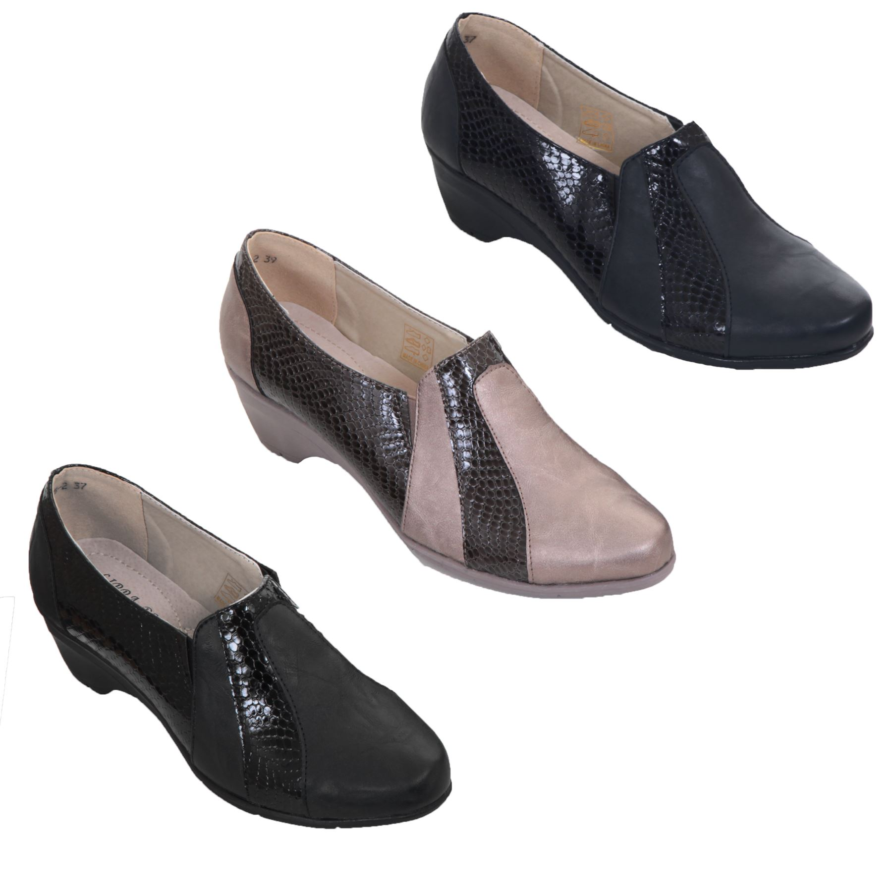 6c006f8ef3 Details about Ladies Slip On Patent Snake Faux Leather Padded Low Wedge  Loafers Shoes