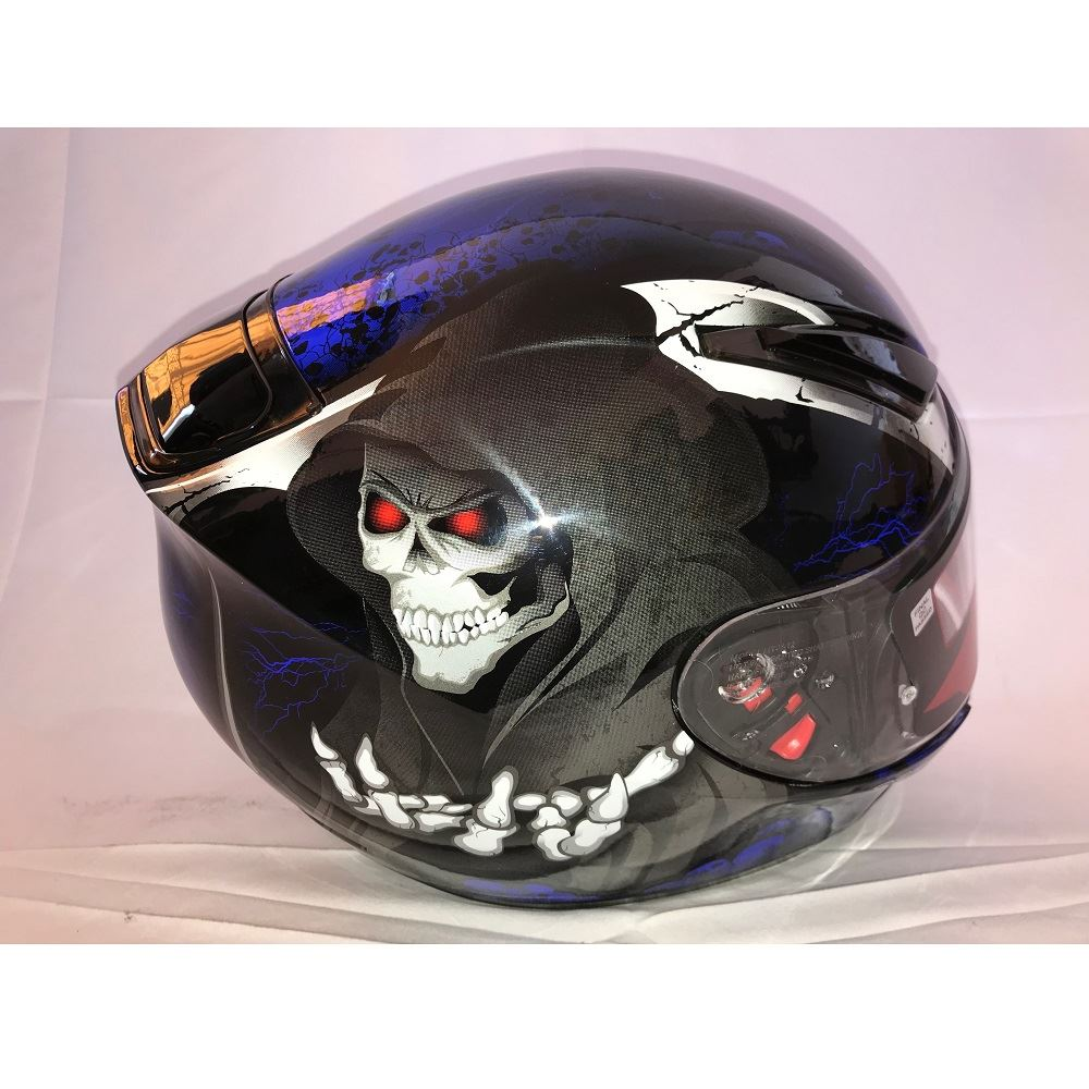 MT Revenge Grim Reaper Motorcycle Scooter Helmet Skeleton Crash Motorbike Red