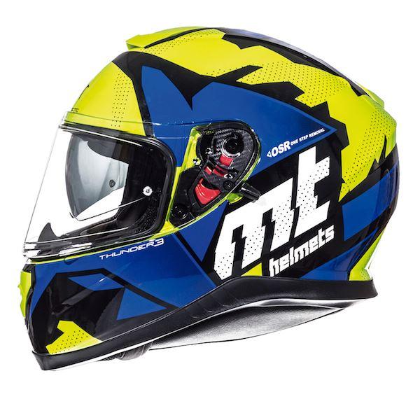 MT Thunder 3 Torn Full Face Motorcycle Helmet Matt Multicoloured Sun Visor New