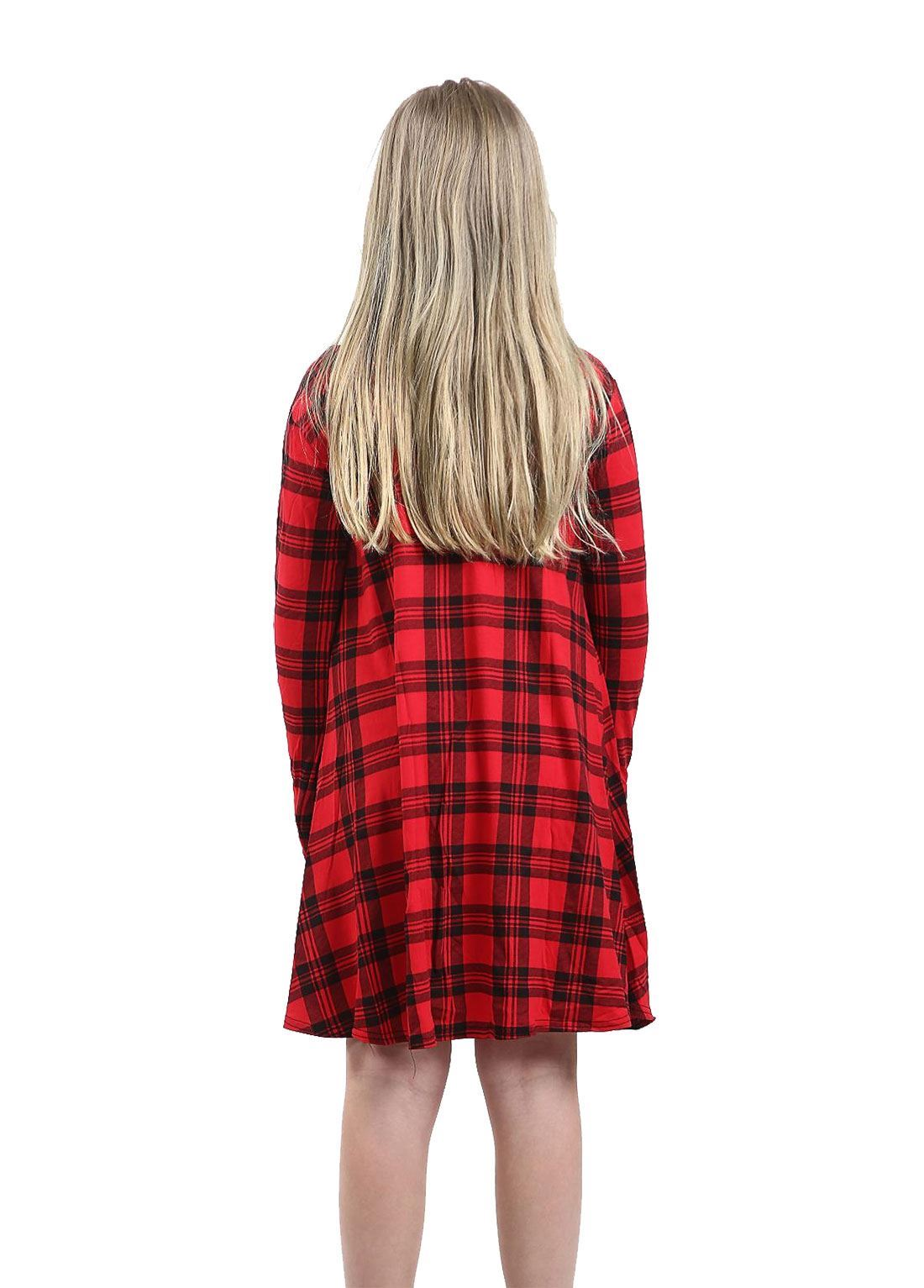 Enfants à manches longues Skater robe Swing Kids Col Rond Imprimé Party Wear Dress