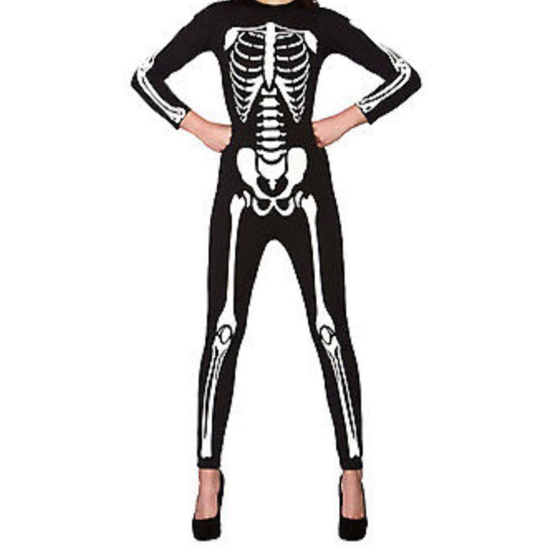 womens halloween costume skeleton leggings dress top jumpsuit