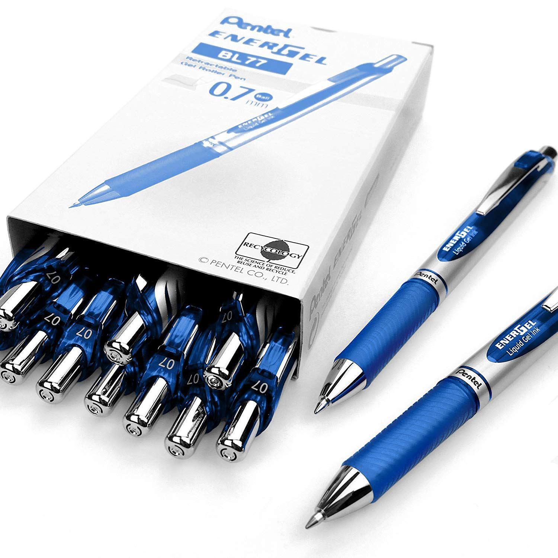 Pentel EnerGel-X 0.7mm Tip Retractable Pen Pack of 12 Blue