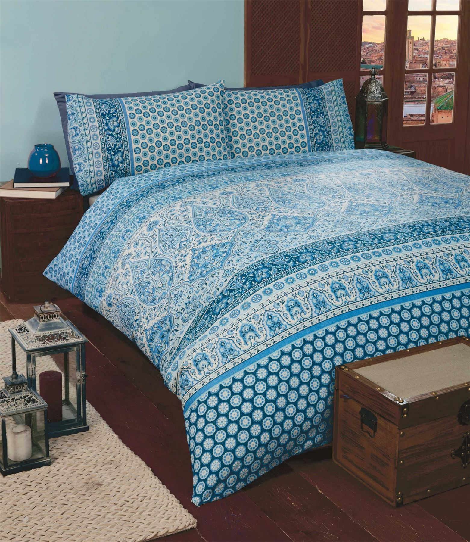 bedding duvet with two cover bohemian sets pillow covers cases inc itm quilt luxury medallion boho and set moroccan