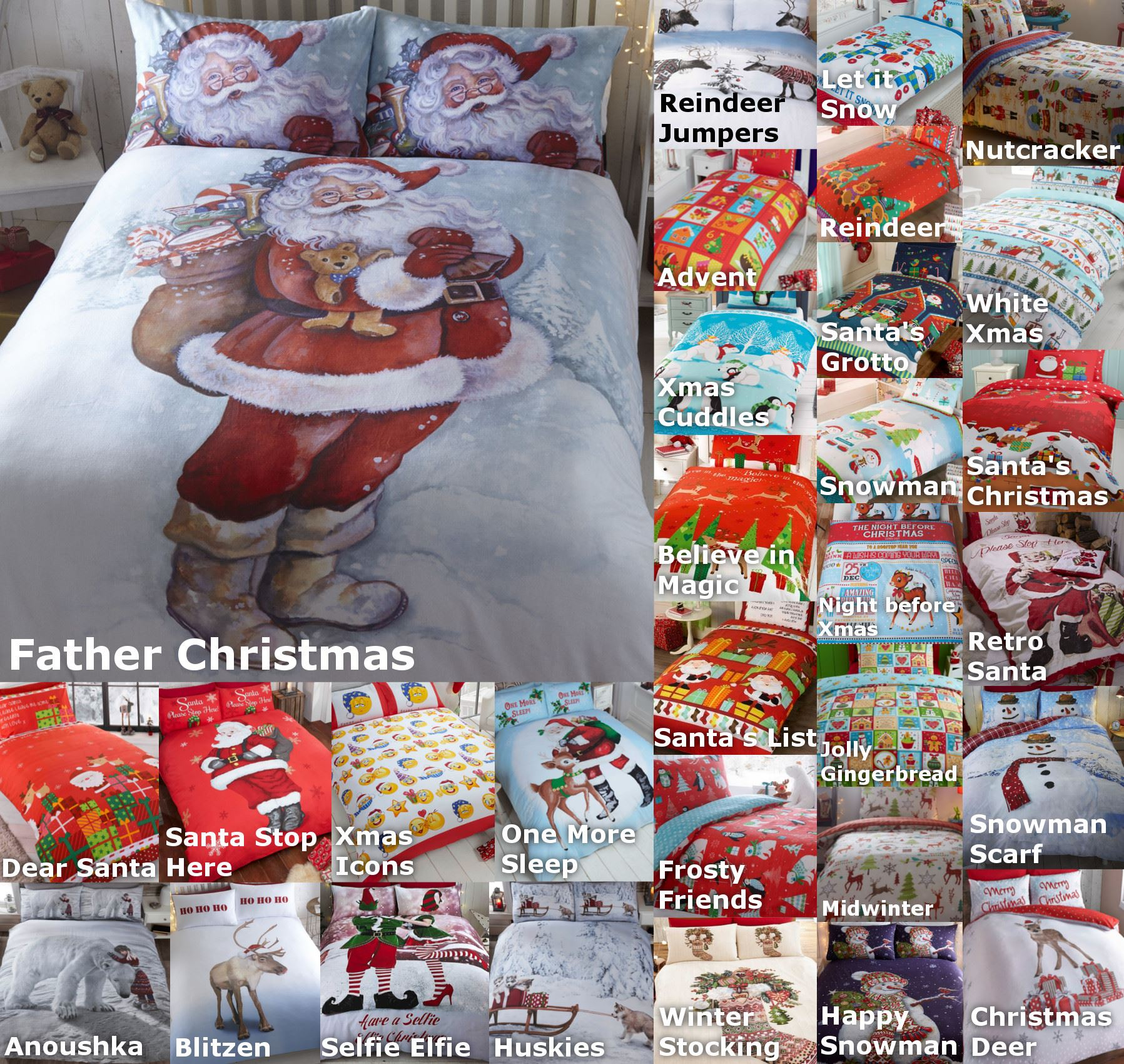 weihnachten kinder steppdecke bettw sche bett s tze 5 gr en festliche ebay. Black Bedroom Furniture Sets. Home Design Ideas