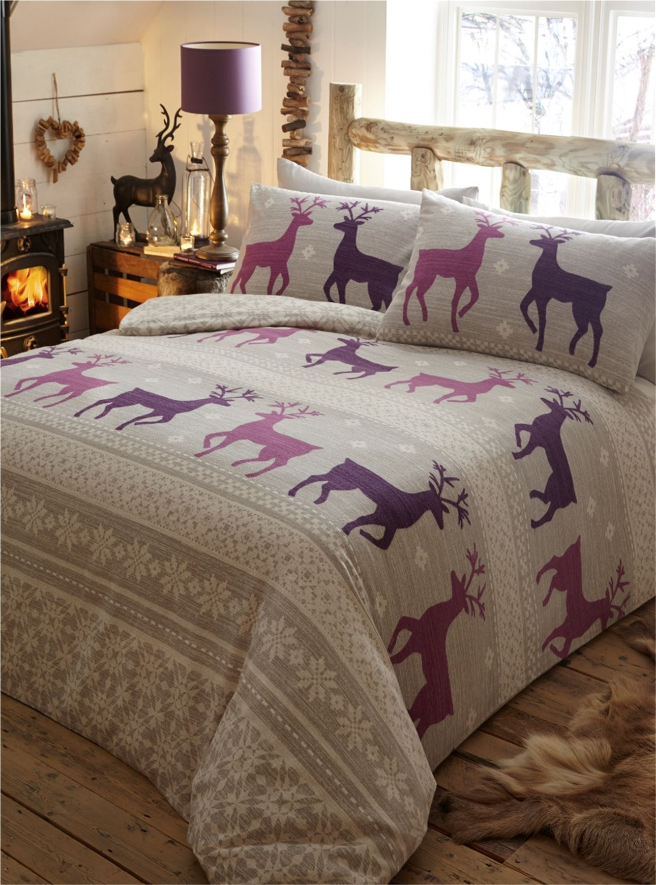 100 Brushed Cotton Flannelette Quilt Duvet Cover Bedding Bed Set Stag Winter Ebay