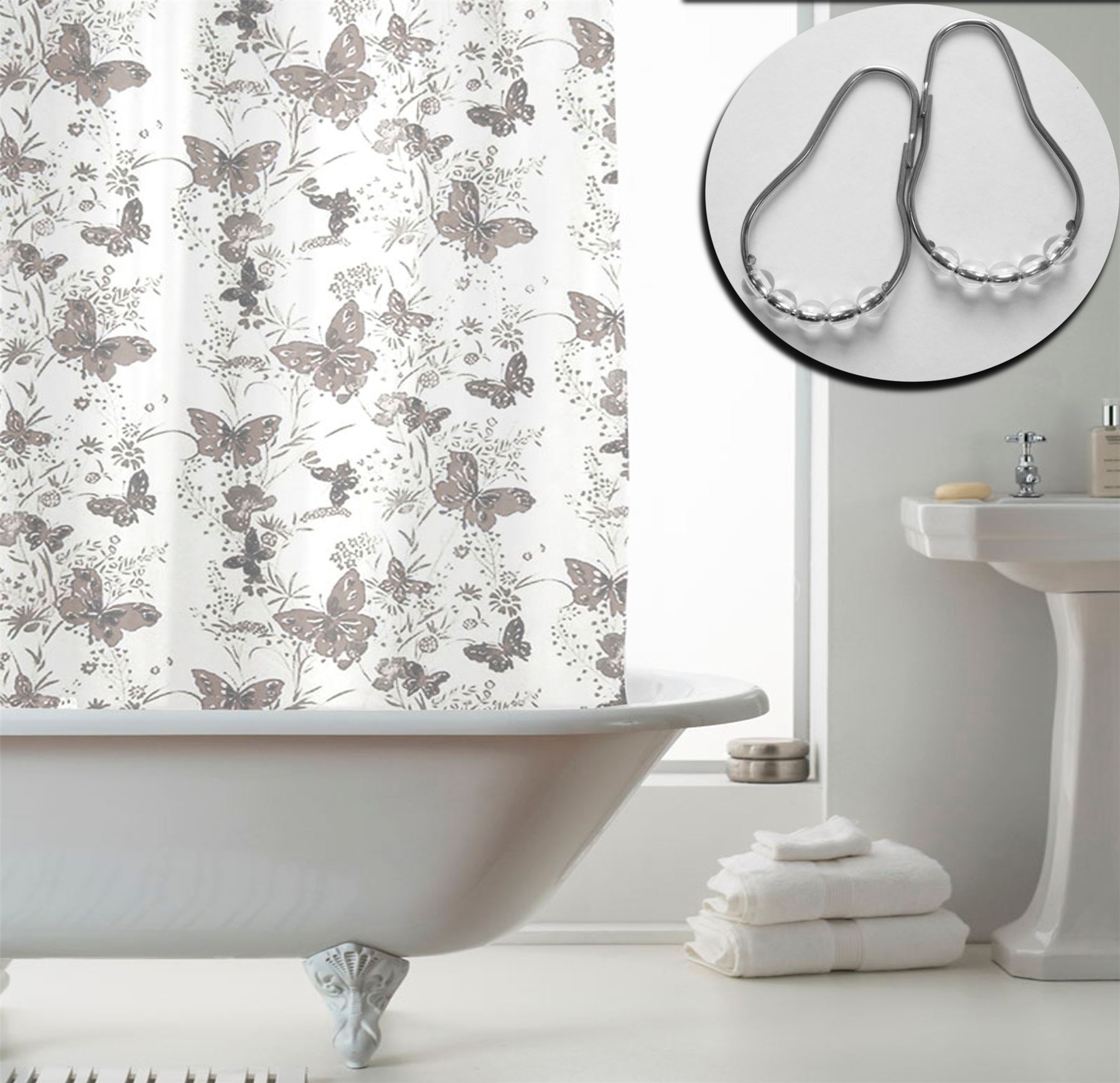 Shower Curtains With 12 Decorative Rings Modern Bathroom