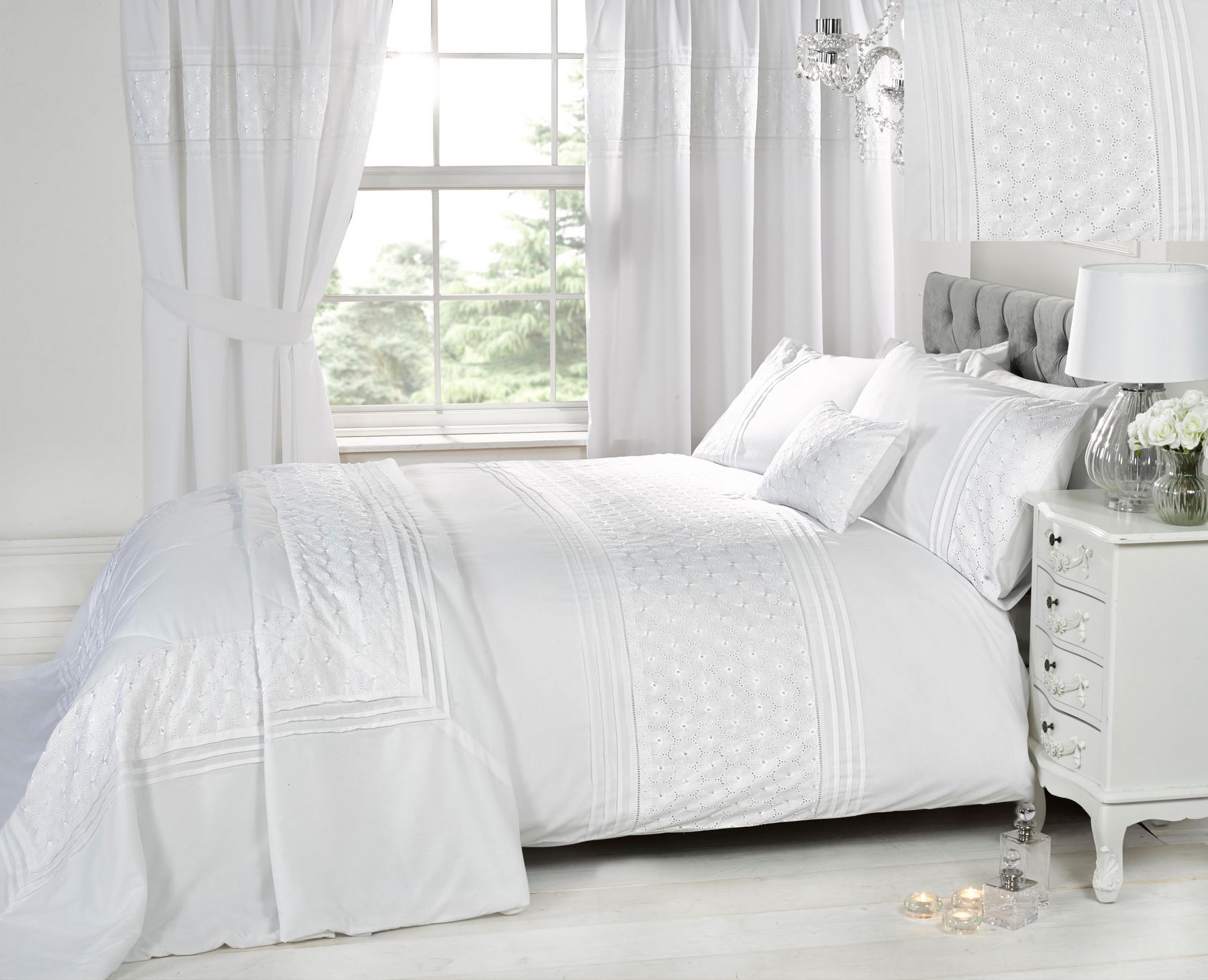 embroidered or laced quilt duvet cover bedding bed sets modern  - embroideredorlacedquiltduvetcoverbeddingbed