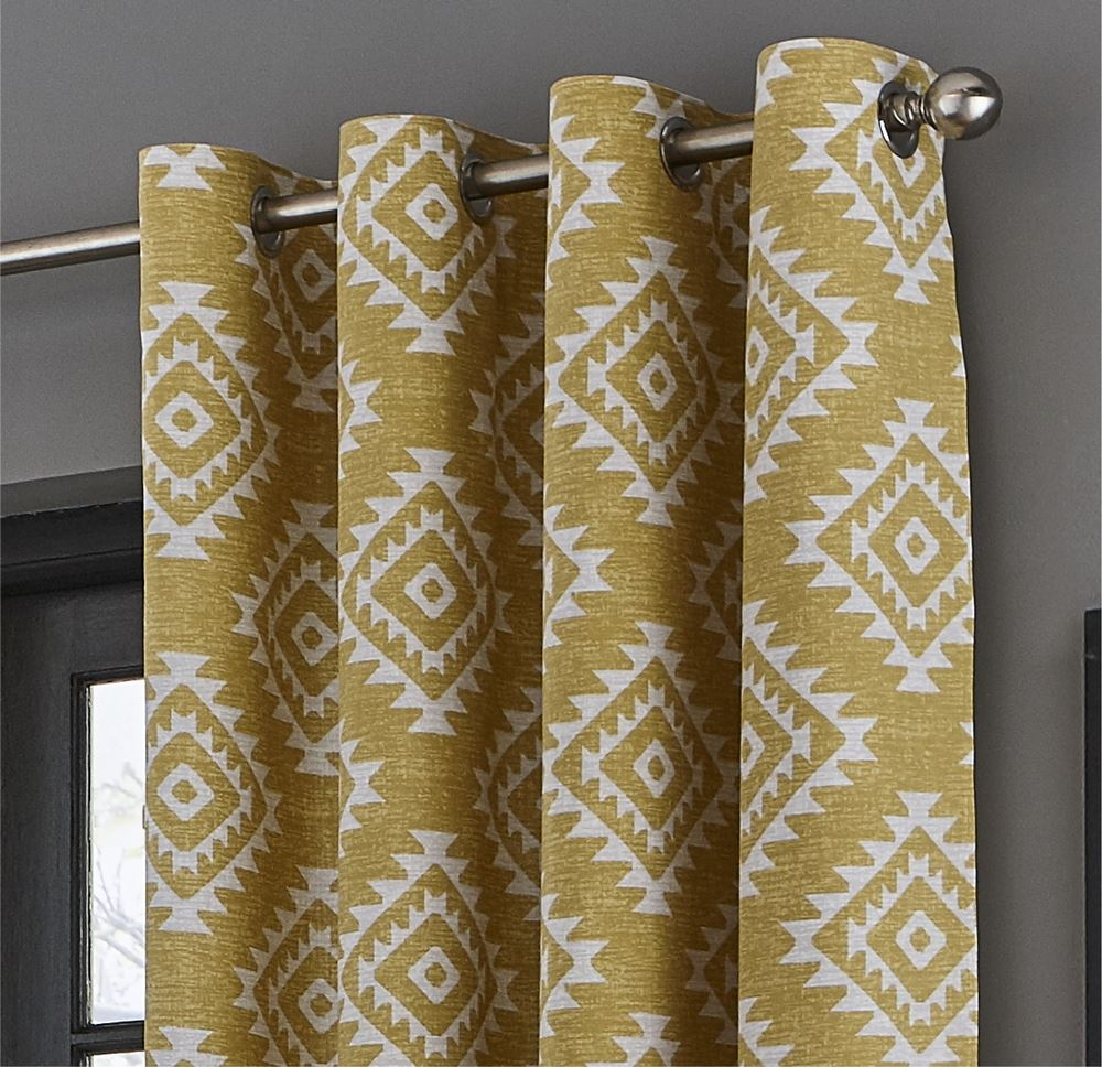 Catherine-Lansfield-Aztec-Fully-Lined-Eyelet-Curtains-Geometric-Ready-Made thumbnail 11