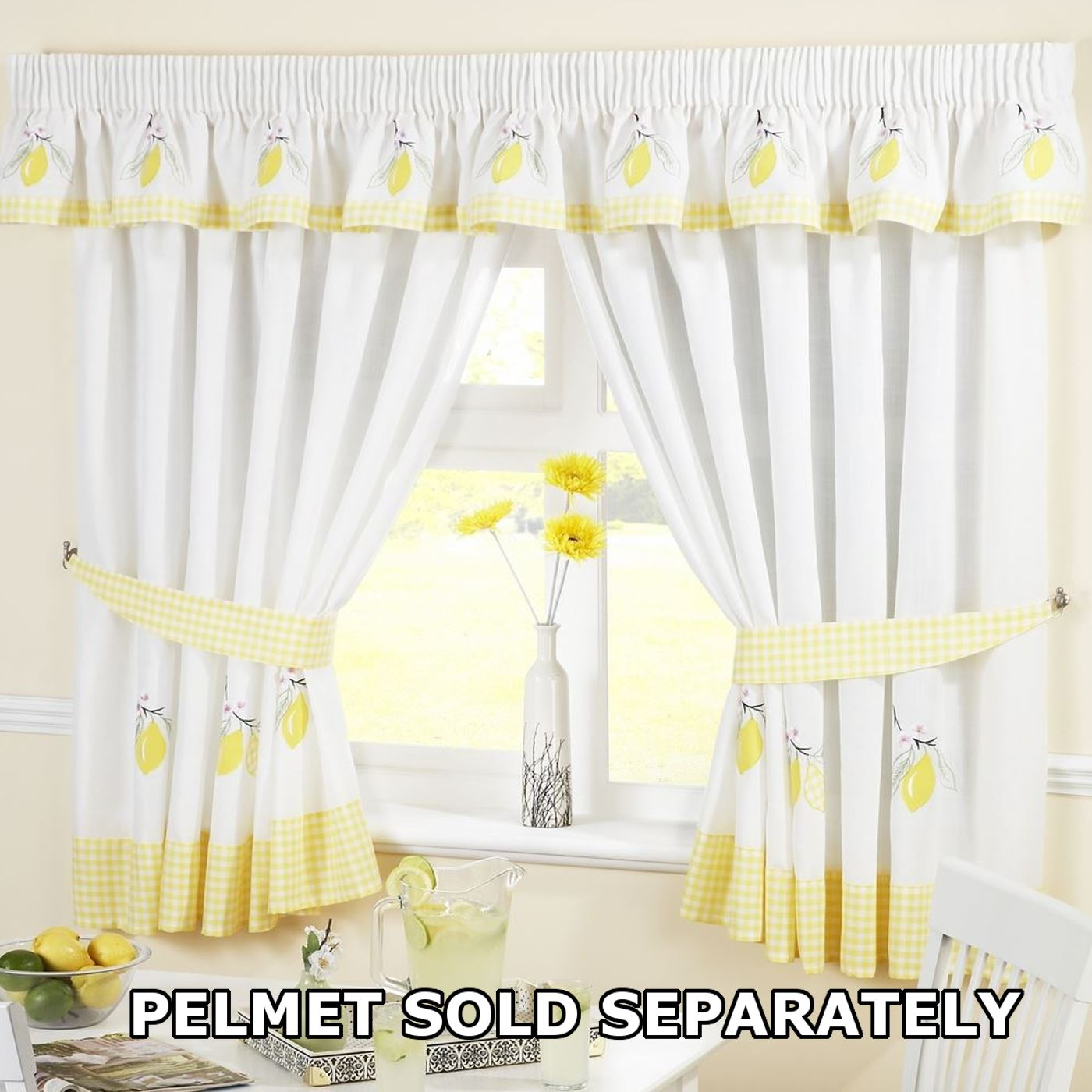 Kitchen Curtain Pelmets: Kitchen Window Curtains Pair Voile Or Matching Pelmets