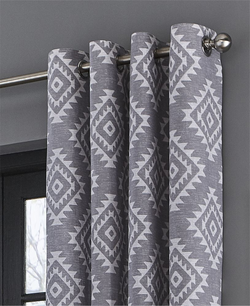 Catherine-Lansfield-Aztec-Fully-Lined-Eyelet-Curtains-Geometric-Ready-Made thumbnail 19