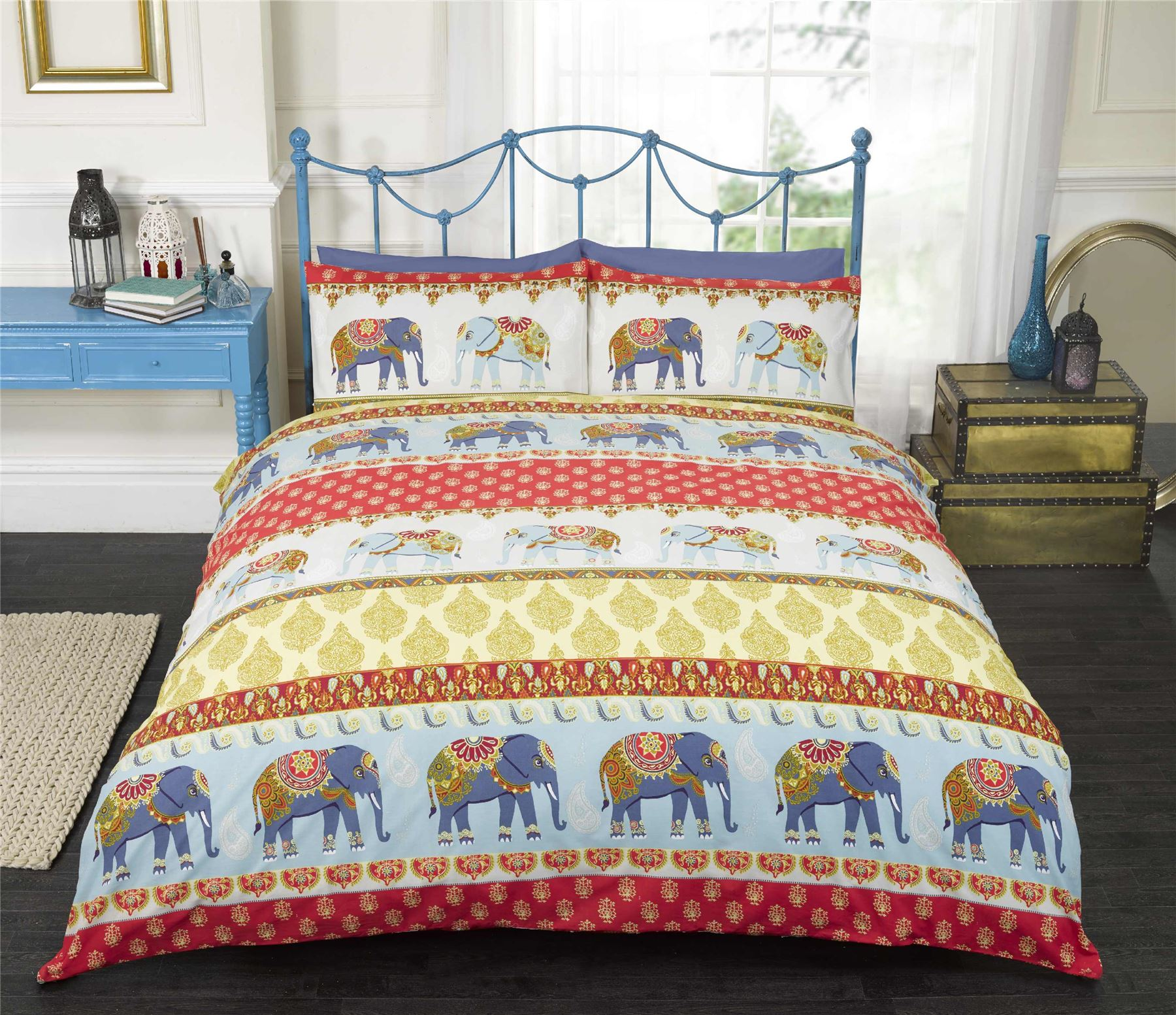 Red Indian Style Elephant Duvet Cover & Pillowcase Bedding Bed Sets
