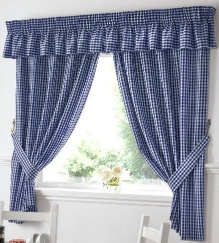Pair Of Gingham Unlined Blue Kitchen Curtains 46 X 48 Drop 64 65
