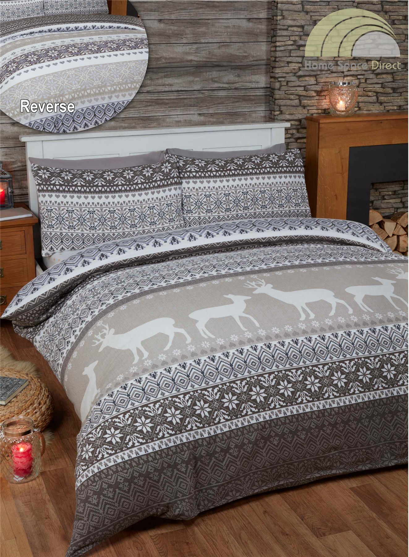 100 cotton flannelette quilt duvet cover bedding bed sets christmas winter new ebay. Black Bedroom Furniture Sets. Home Design Ideas