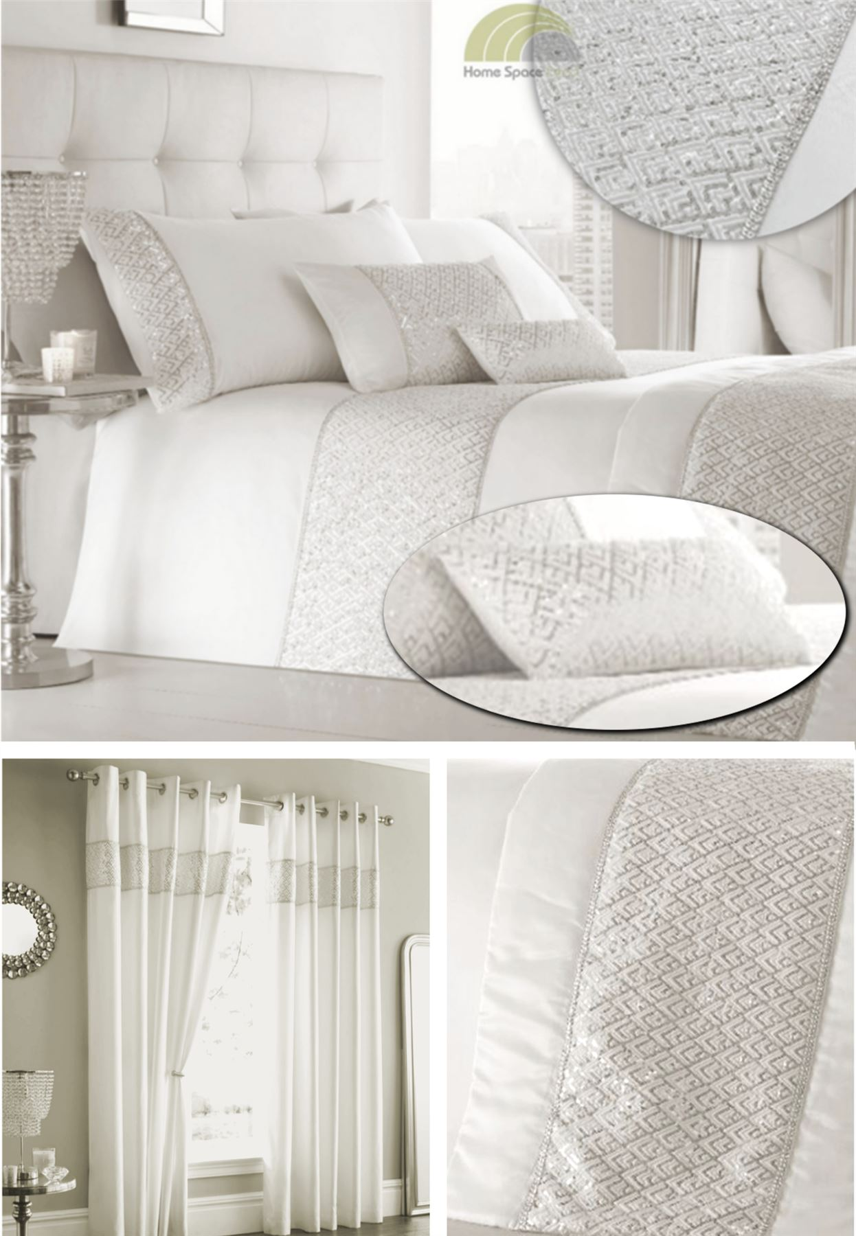 Sequined Off White Duvet Cover Bedding Bed Set Or Cushion Or Curtains Or Runner Ebay