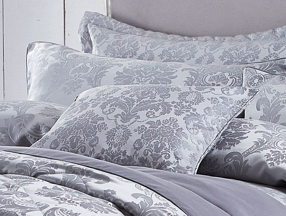 damask jacquard duvet cover or curtains or cushion cover or bedspread silver new ebay. Black Bedroom Furniture Sets. Home Design Ideas