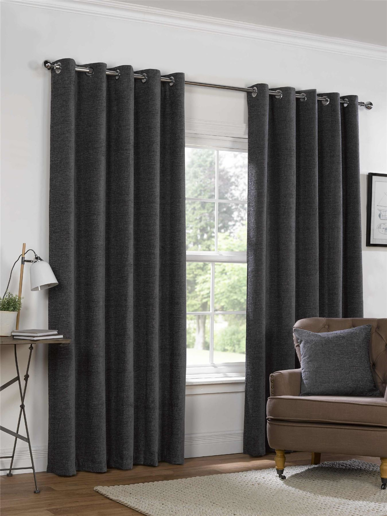 eyelet ring top curtains fully lined ready made heavy weight striped ebay. Black Bedroom Furniture Sets. Home Design Ideas