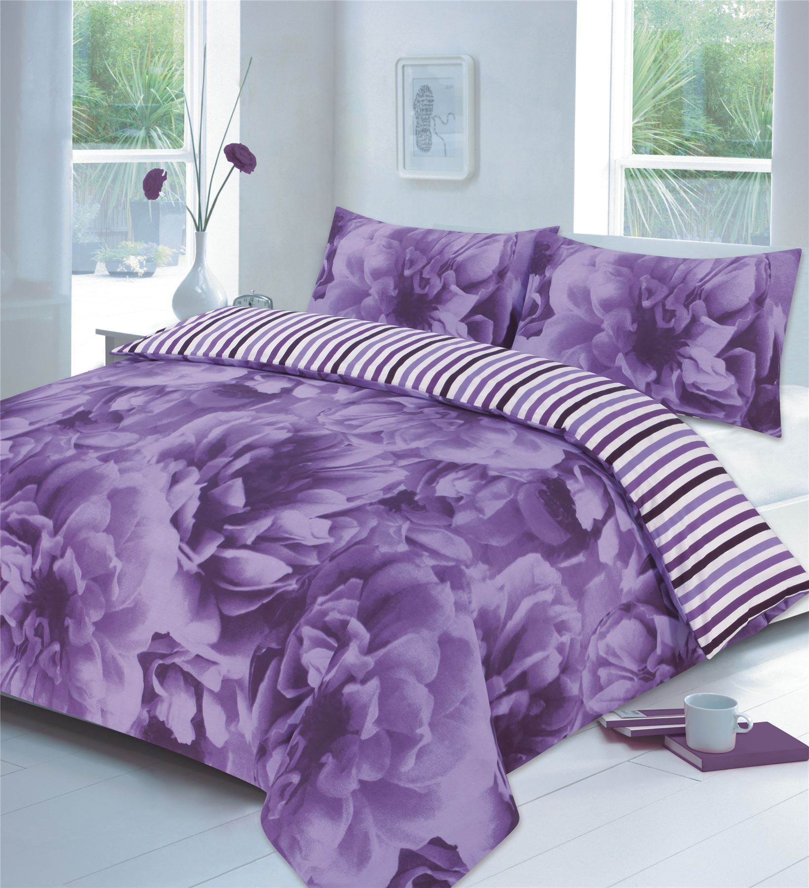 rose floral lilac or teal or red duvet - Liliac Bedding