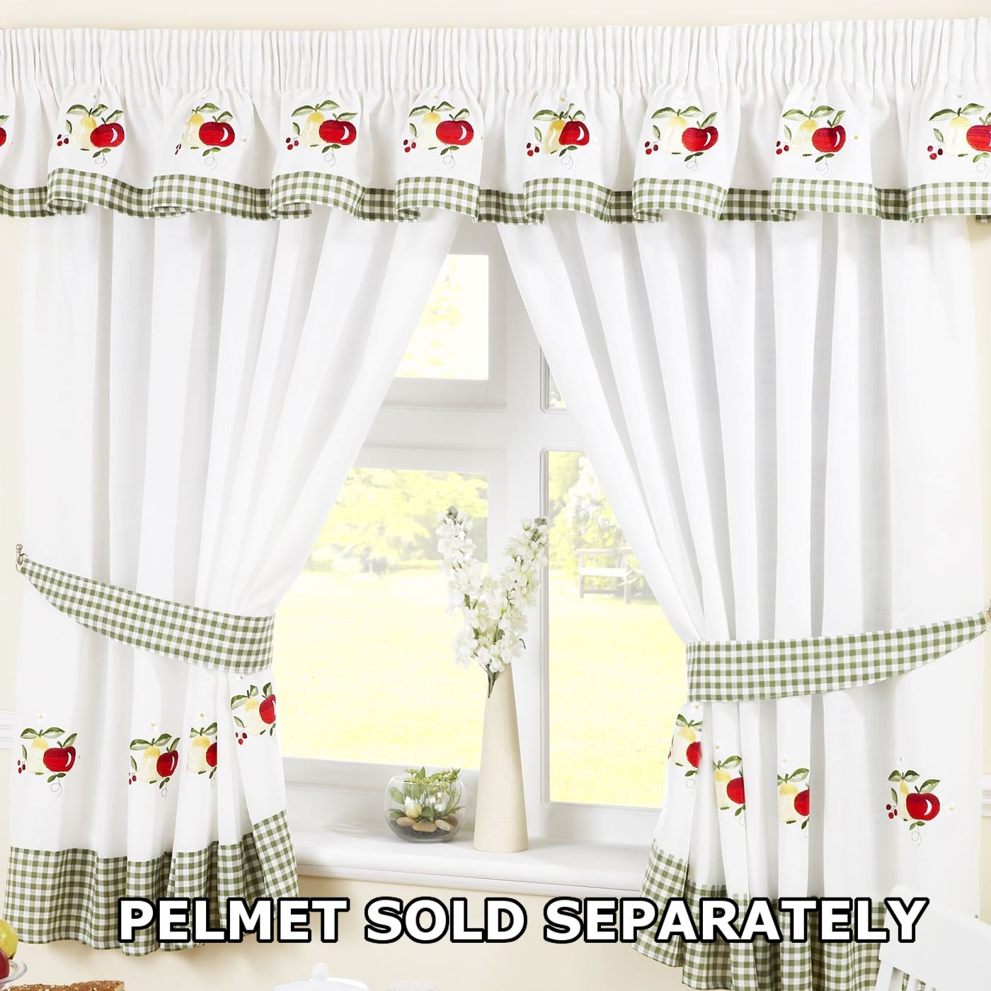Fruits Pencil Pleat Kitchen Curtains And Tiebacks Green White 46 X