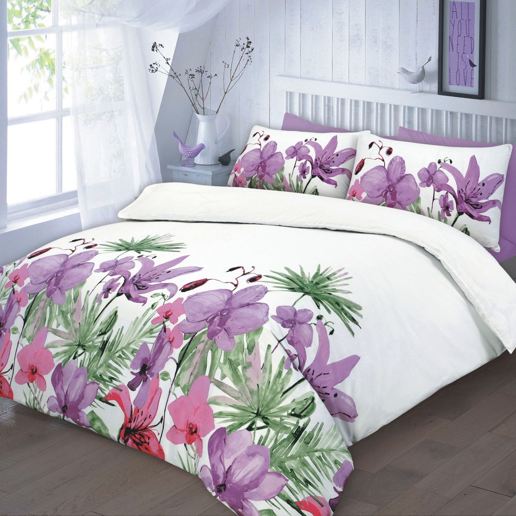 floral quilt duvet cover amp pillowcase teal pink lilac bedding  - floralquiltduvetcoveramppillowcasetealpink